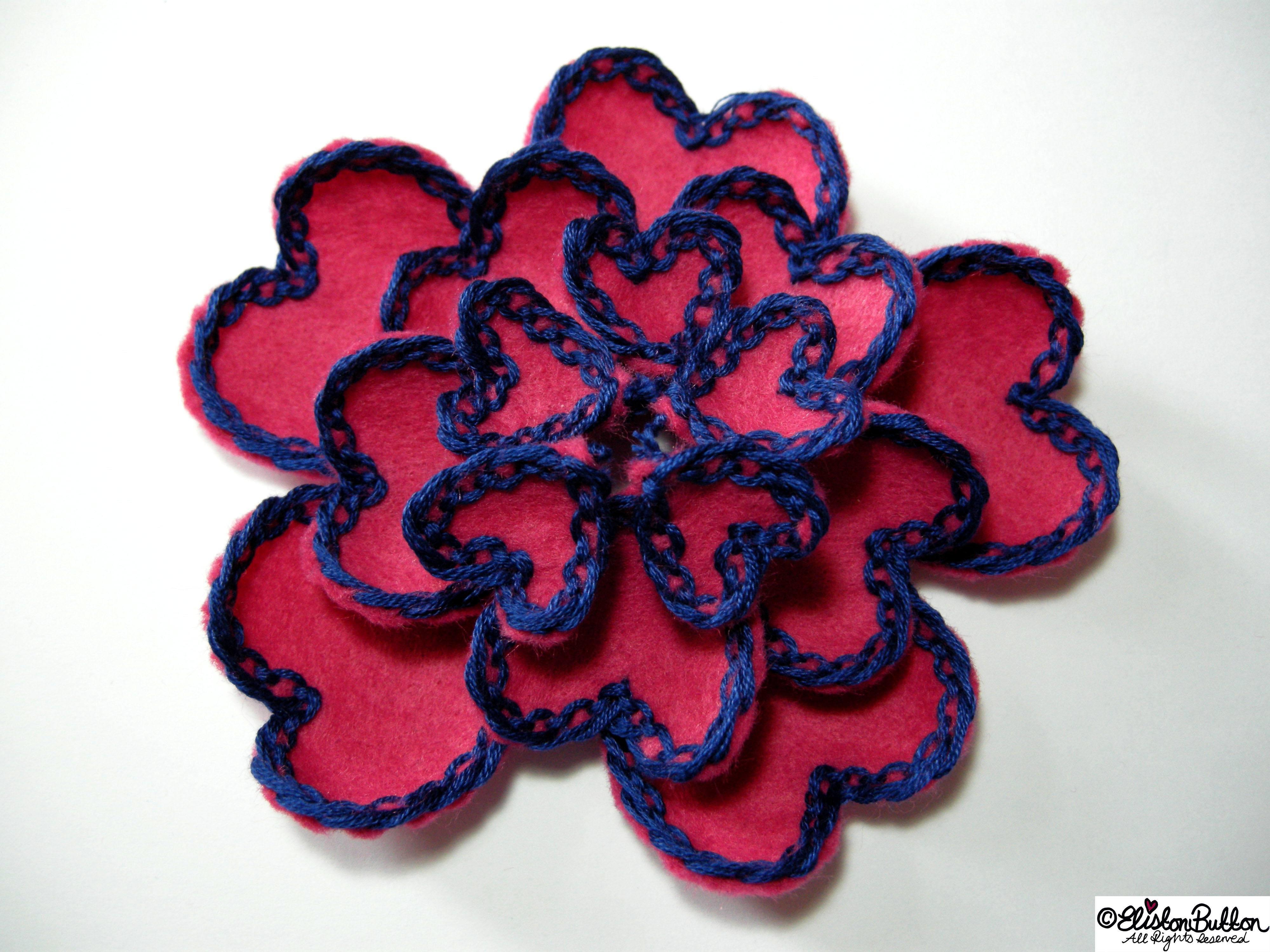Pink Felt Heart Petals with Navy Blue Lace-Like Embroidery - Flower Shape - 27 Before 27 - Pink Hearts at www.elistonbutton.com - Eliston Button - That Crafty Kid – Art, Design, Craft & Adventure.