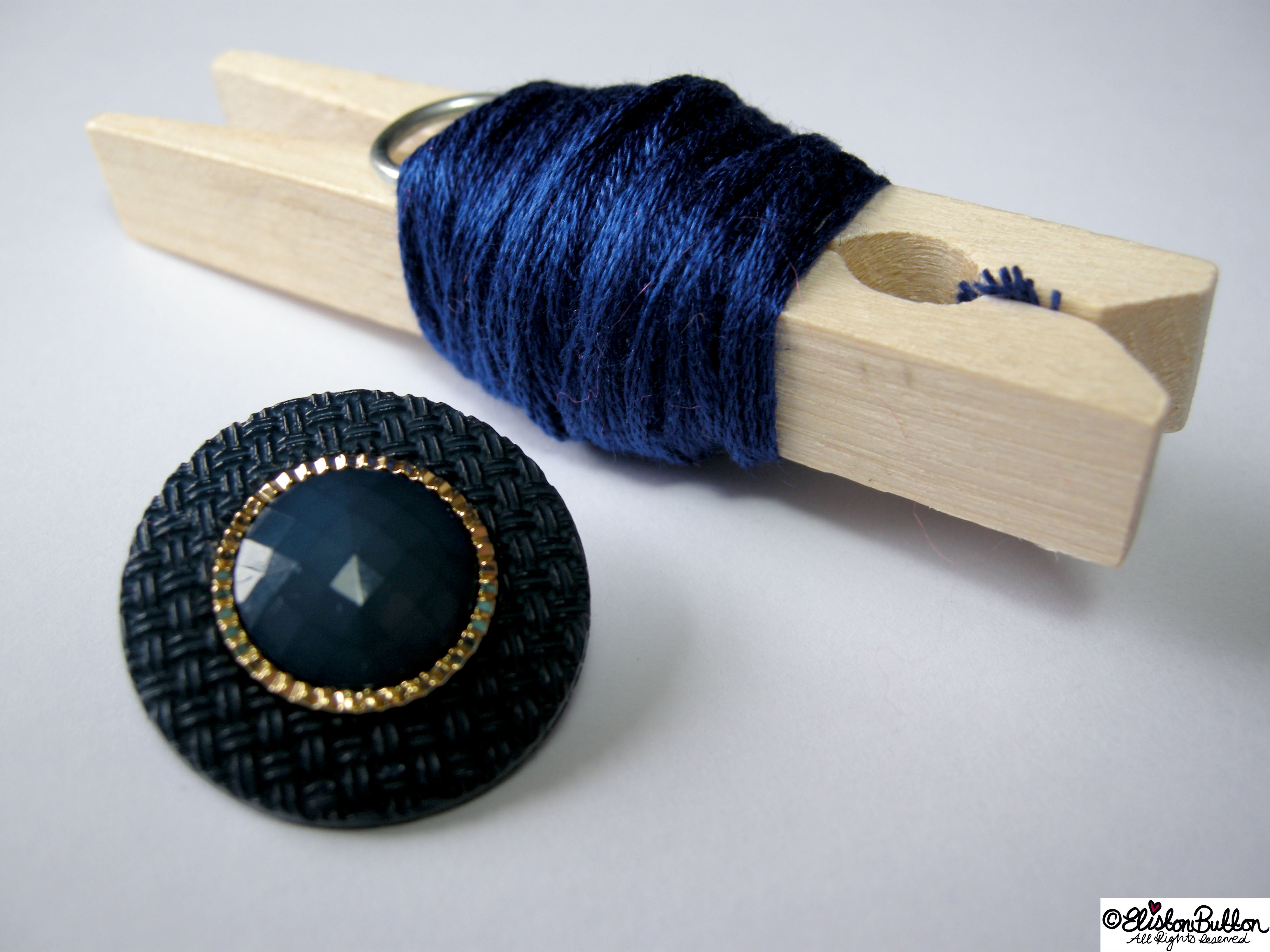 Navy Blue Embroidery Thread and Blue Button with Gold Trim Centrepiece - 27 Before 27 - Pink Hearts at www.elistonbutton.com - Eliston Button - That Crafty Kid – Art, Design, Craft & Adventure.