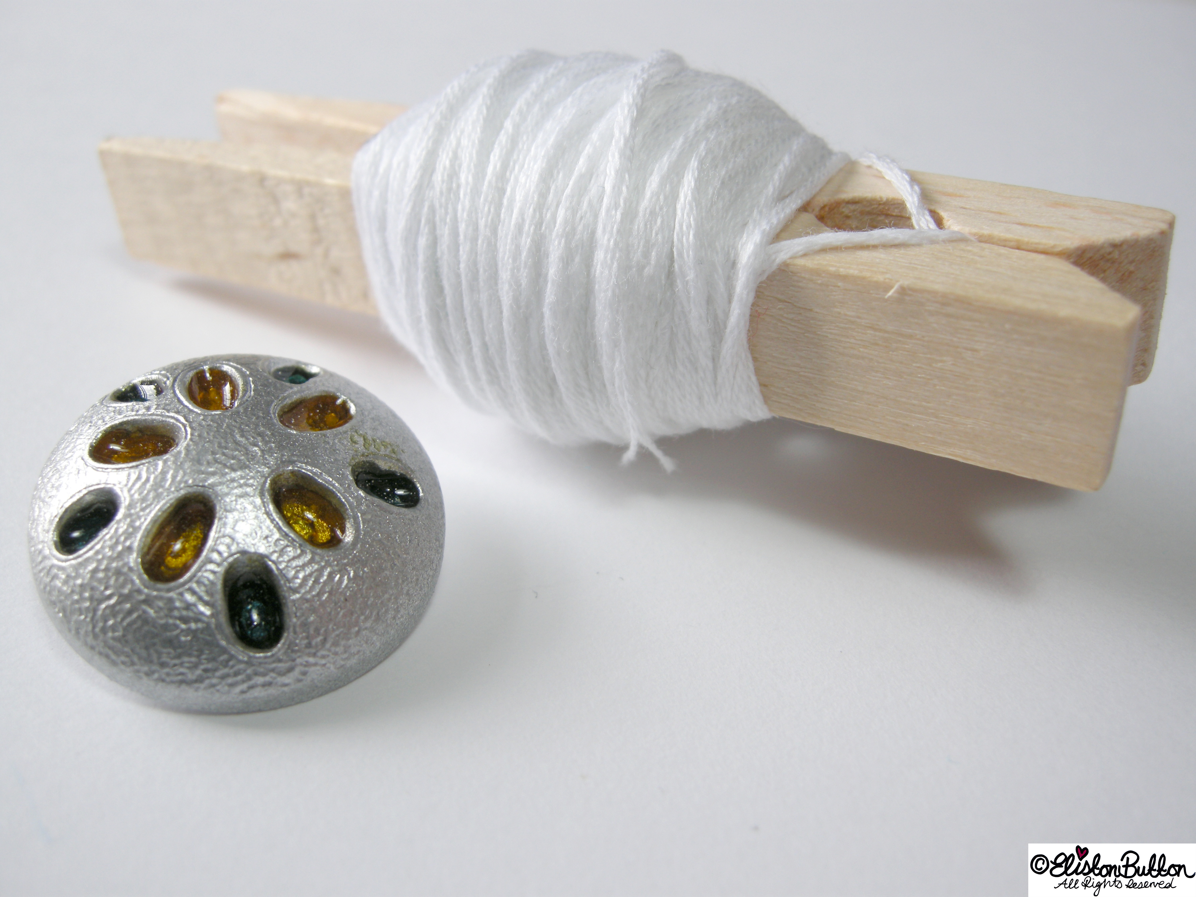 White Embroidery Thread and Silver Metal Button Centrepiece - 27 Before 27 – Peppermint at www.elistonbutton.com - Eliston Button - That Crafty Kid – Art, Design, Craft & Adventure.