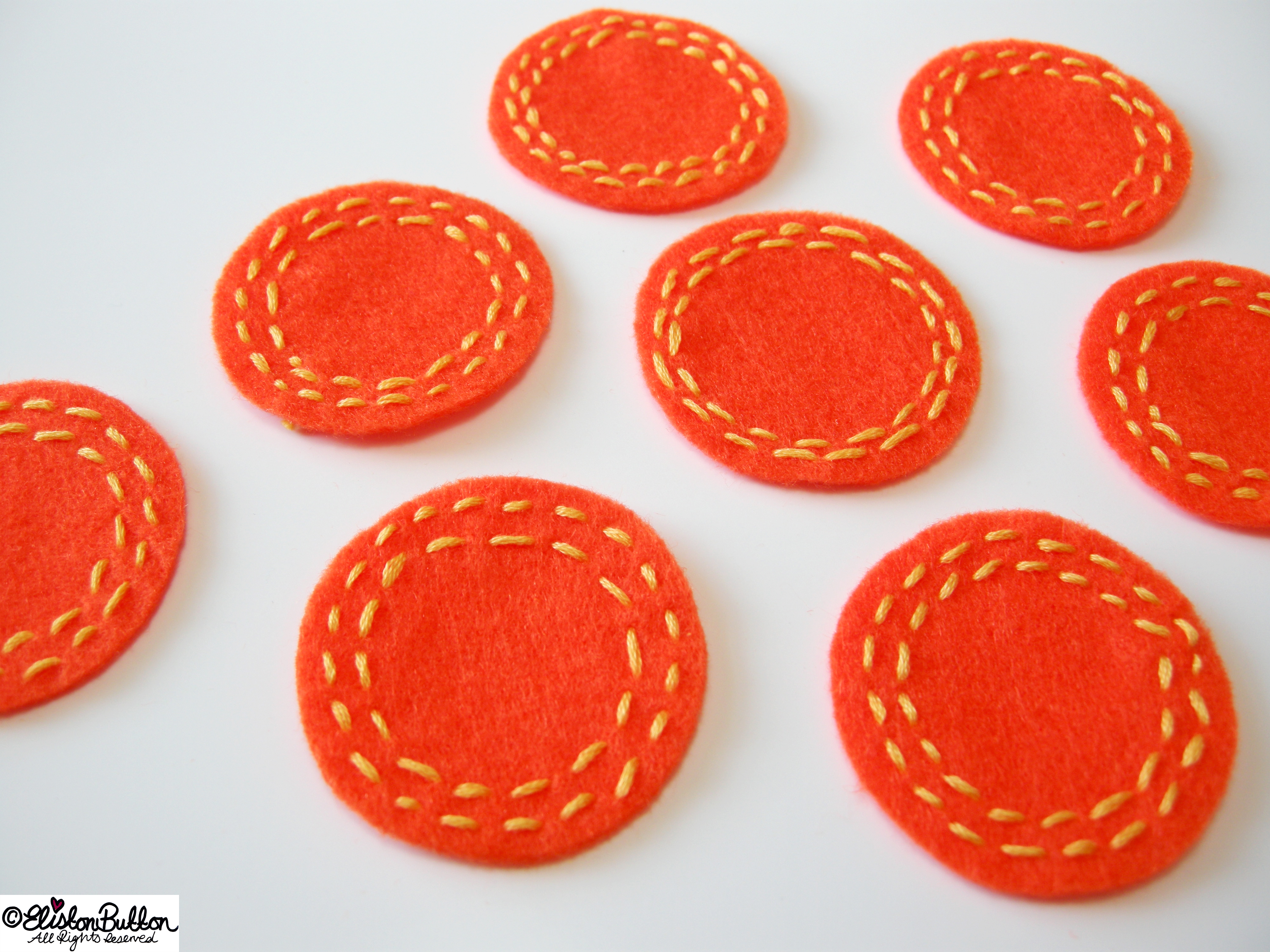 Ornage Felt Circles with Yellow Running Stitch Embroidery - 27 Before 27 - Oranges and Lemons at www.elistonbutton.com - Eliston Button - That Crafty Kid – Art, Design, Craft & Adventure.
