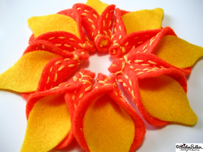Orange Embroidered Felt Petals with Lemon Shaped Yellow Centres All Together - 27 Before 27 - Oranges and Lemons at www.elistonbutton.com - Eliston Button - That Crafty Kid – Art, Design, Craft & Adventure.