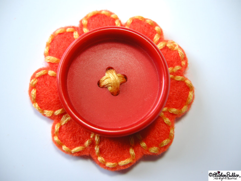 Embroidered Yellow Flower Stitches on Orange Flower Felt with a Large Orange Button Centrepiece - 27 Before 27 - Oranges and Lemons at www.elistonbutton.com - Eliston Button - That Crafty Kid – Art, Design, Craft & Adventure.