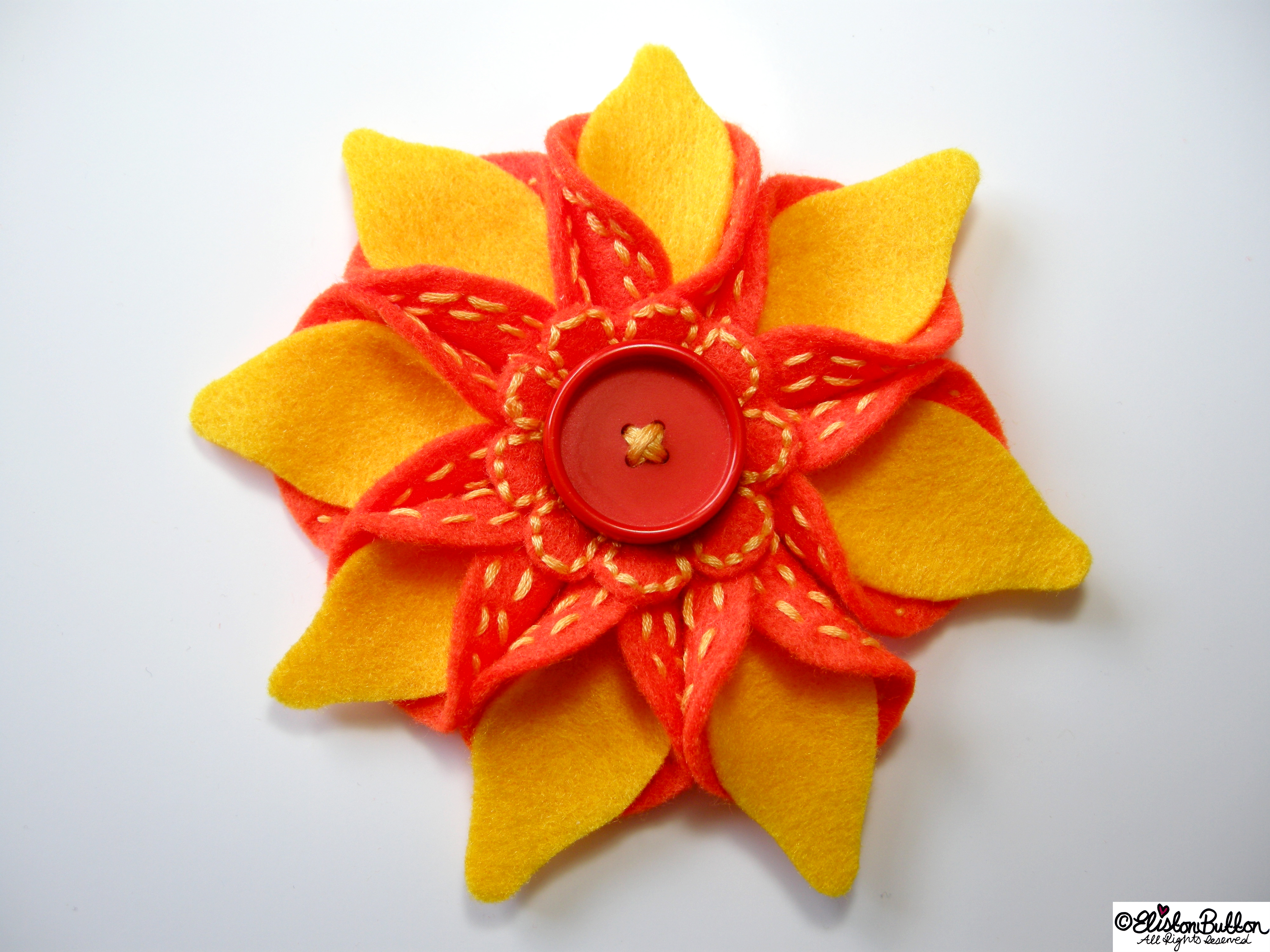 Oranges and Lemons Orange and Yellow Embroidered Felt Flower Brooch - 27 Before 27 - Oranges and Lemons at www.elistonbutton.com - Eliston Button - That Crafty Kid – Art, Design, Craft & Adventure.