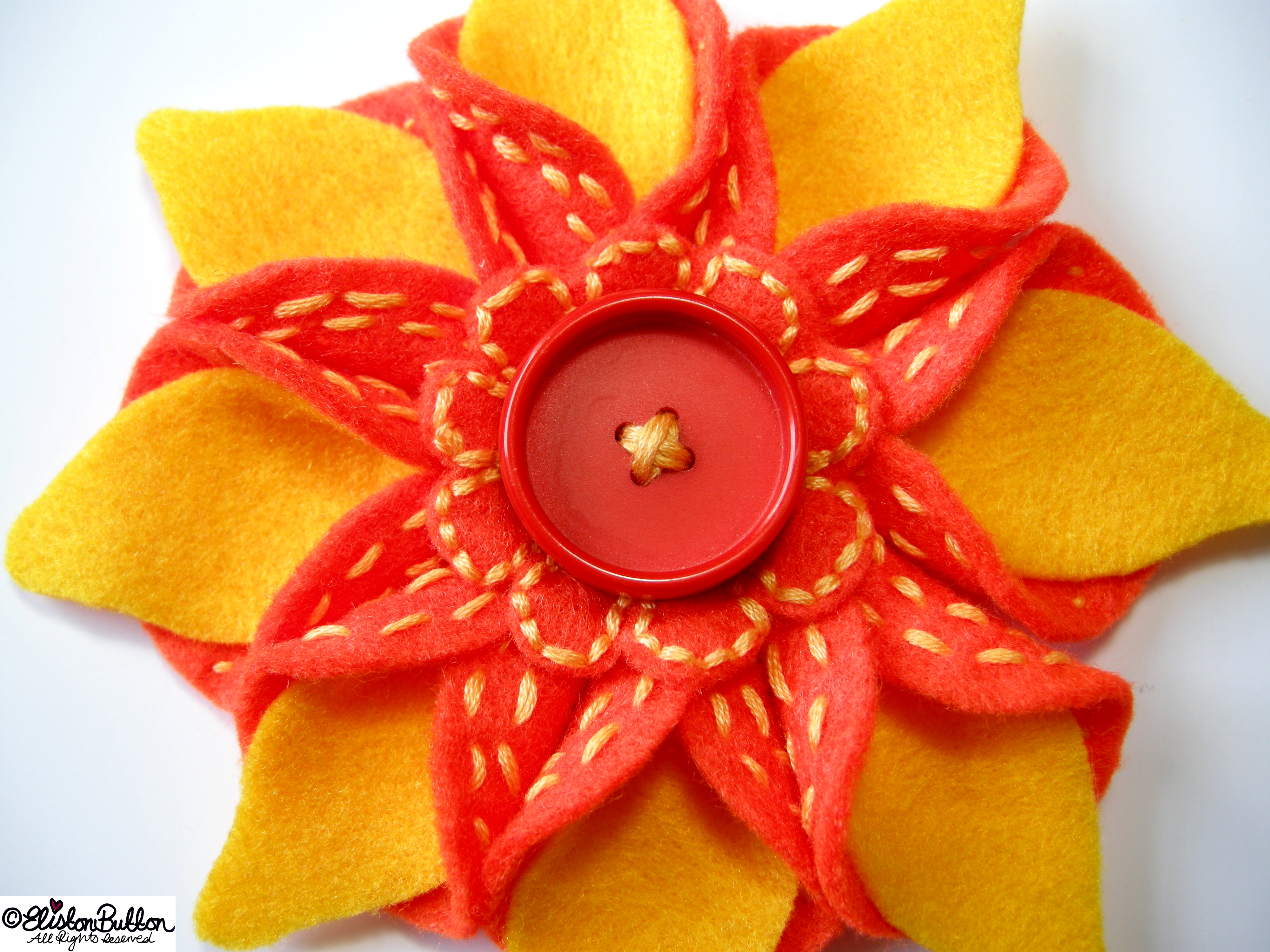 Oranges and Lemons Orange and Yellow Embroidered Felt Flower Brooch - Centrepiece Detail - 27 Before 27 - Oranges and Lemons at www.elistonbutton.com - Eliston Button - That Crafty Kid – Art, Design, Craft & Adventure.