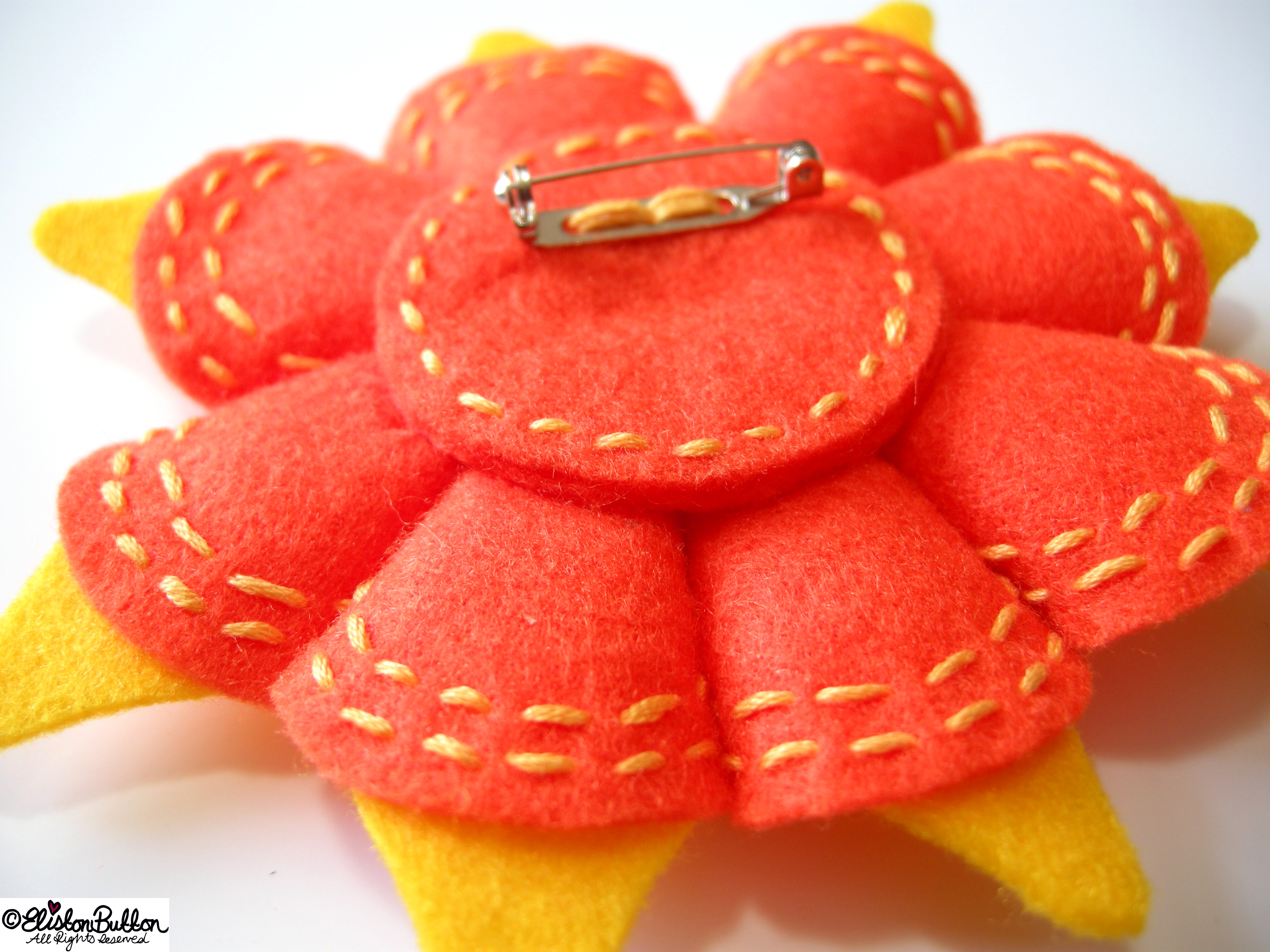 Oranges and Lemons Orange and Yellow Embroidered Felt Flower Brooch - Back Detail - 27 Before 27 - Oranges and Lemons at www.elistonbutton.com - Eliston Button - That Crafty Kid – Art, Design, Craft & Adventure.