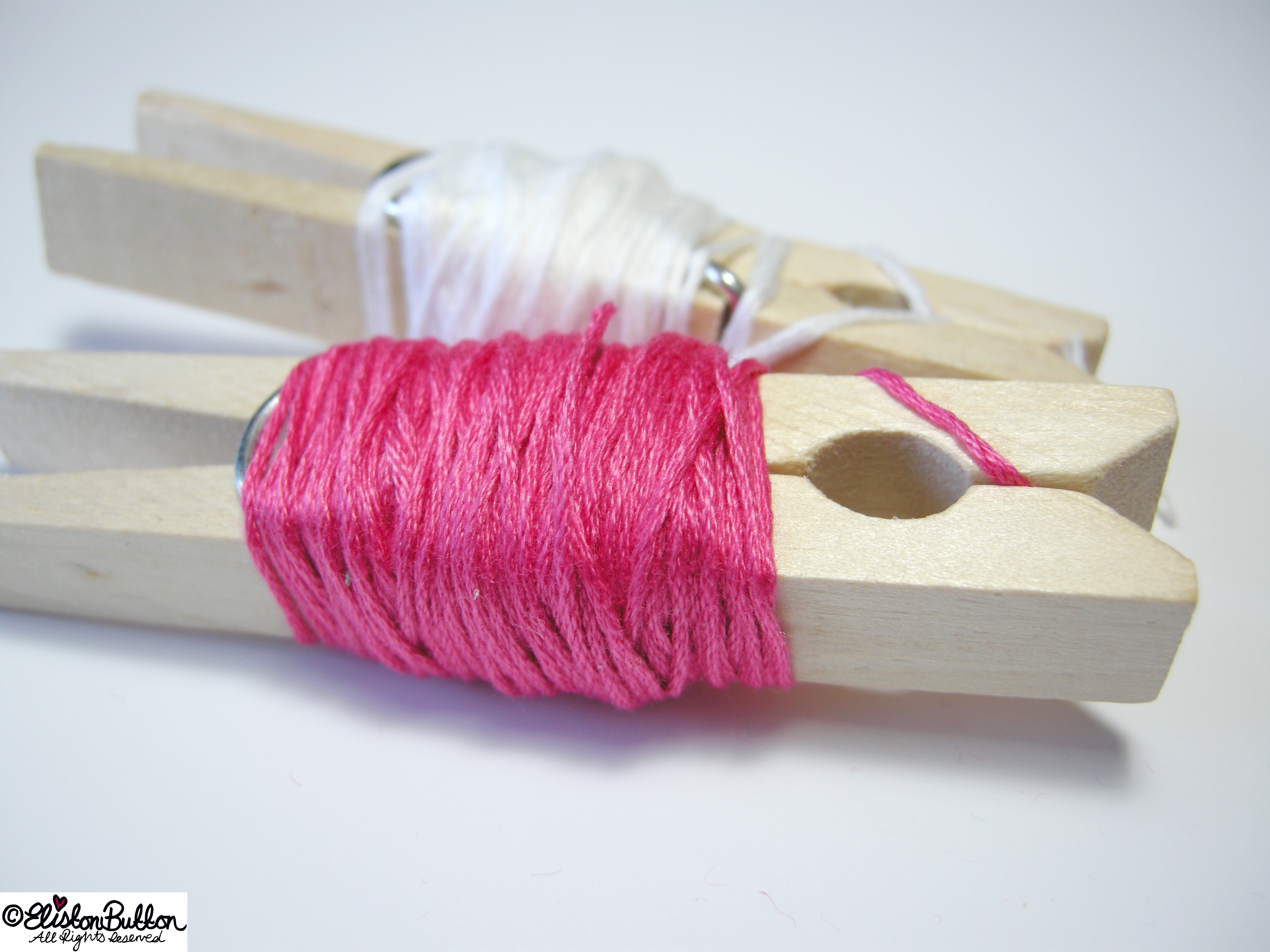 Hot Pink and Crisp White Embroidery Thread - 27 Before 27 - Zig-a-Zig-ah! at www.elistonbutton.com - Eliston Button - That Crafty Kid – Art, Design, Craft & Adventure.