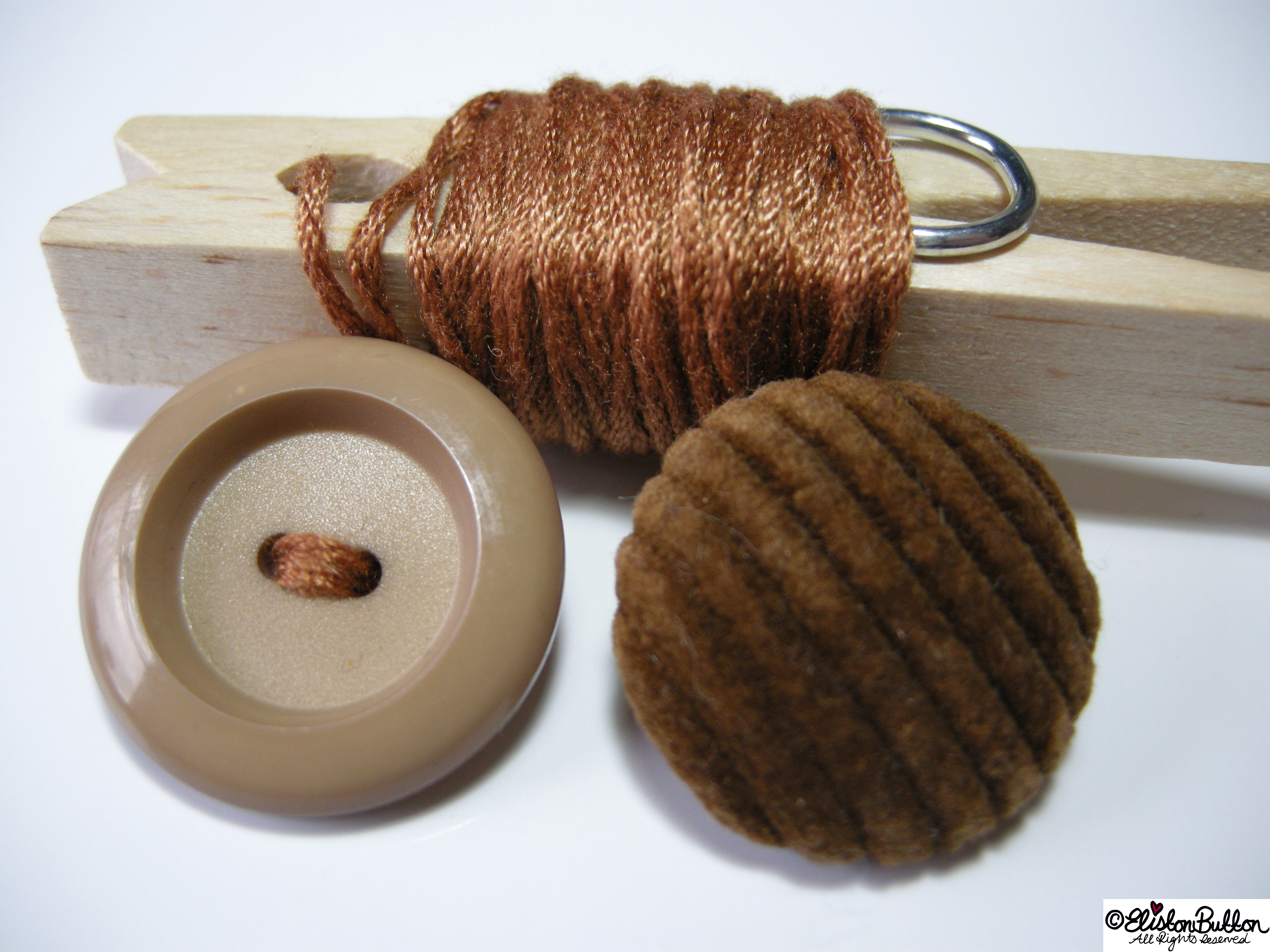 Brown Embroidery Thread and a Beige and a Brown Button - 27 Before 27 - Sage & Onion at www.elistonbutton.com - Eliston Button - That Crafty Kid – Art, Design, Craft & Adventure.