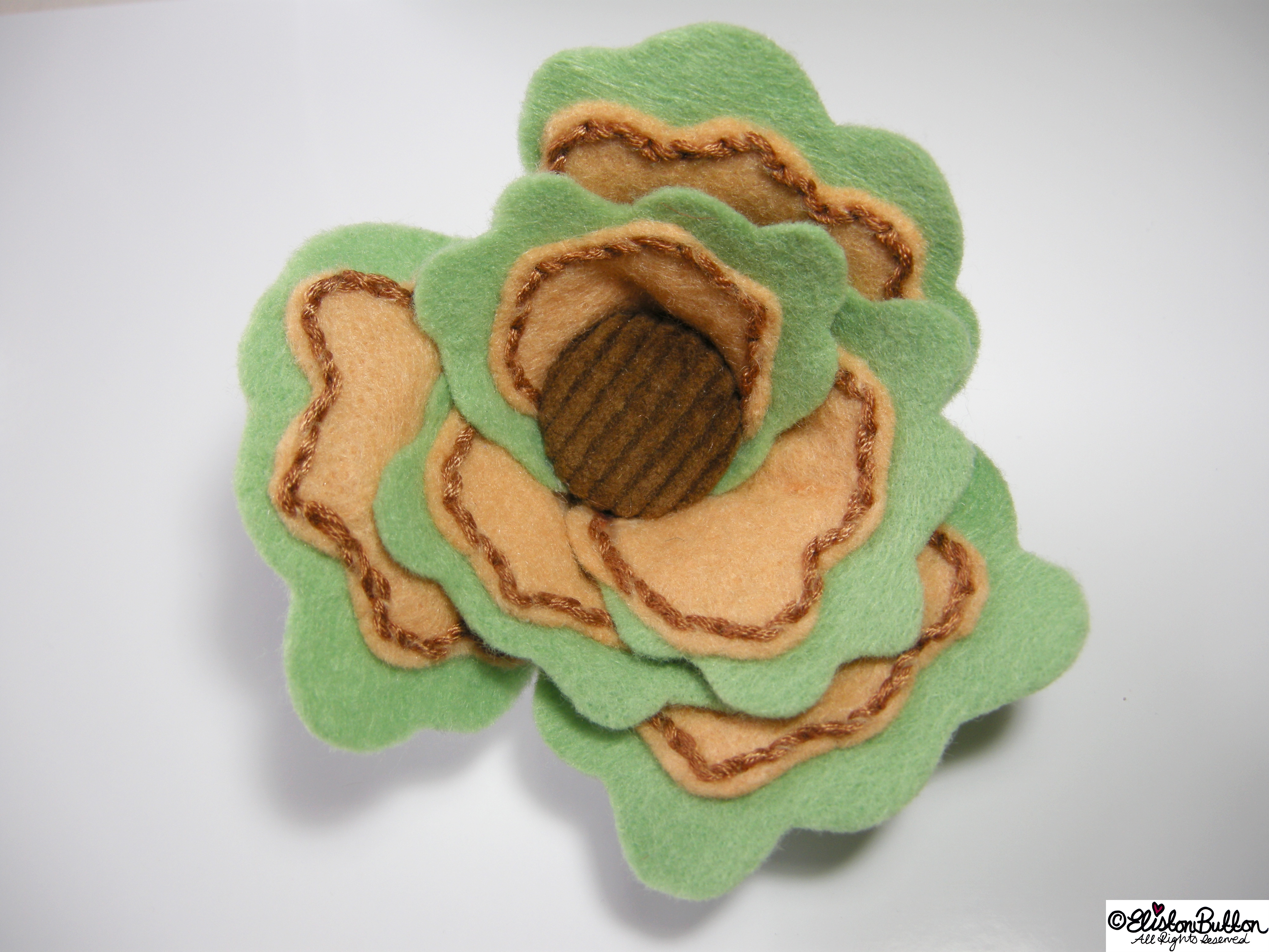 Sage and Onion Mint Green, Beige and Brown Felt Flower Brooch with Brown Corduroy Button Centre - 27 Before 27 - Sage & Onion at www.elistonbutton.com - Eliston Button - That Crafty Kid – Art, Design, Craft & Adventure.