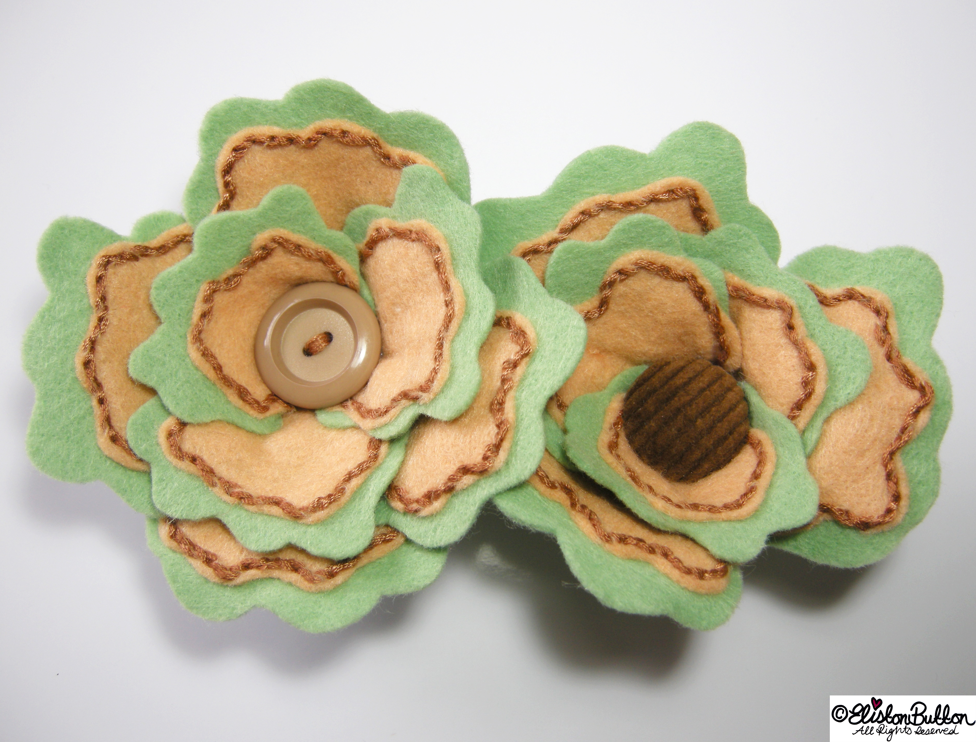 Sage and Onion Mint Green, Beige and Brown Felt Flower Brooches - 27 Before 27 - Sage & Onion at www.elistonbutton.com - Eliston Button - That Crafty Kid – Art, Design, Craft & Adventure.