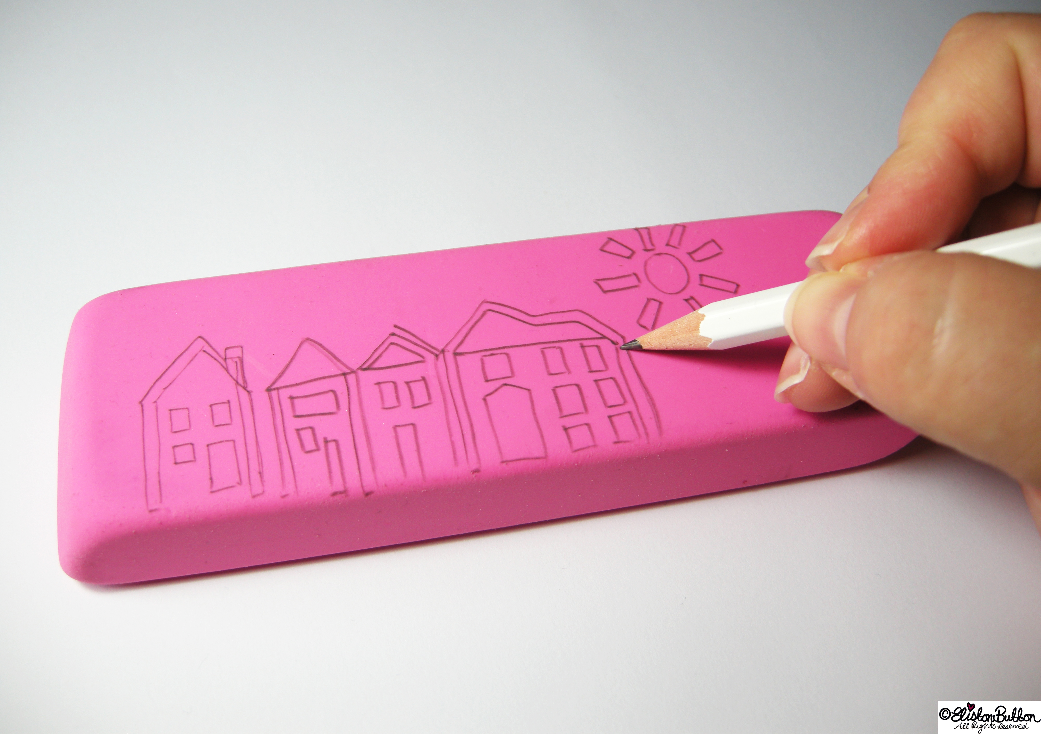 Drawing Out a Design on Rubber for Stamp Carving - Hand-Carved Streetscape Stamps at www.elistonbutton.com - Eliston Button - That Crafty Kid – Art, Design, Craft & Adventure.