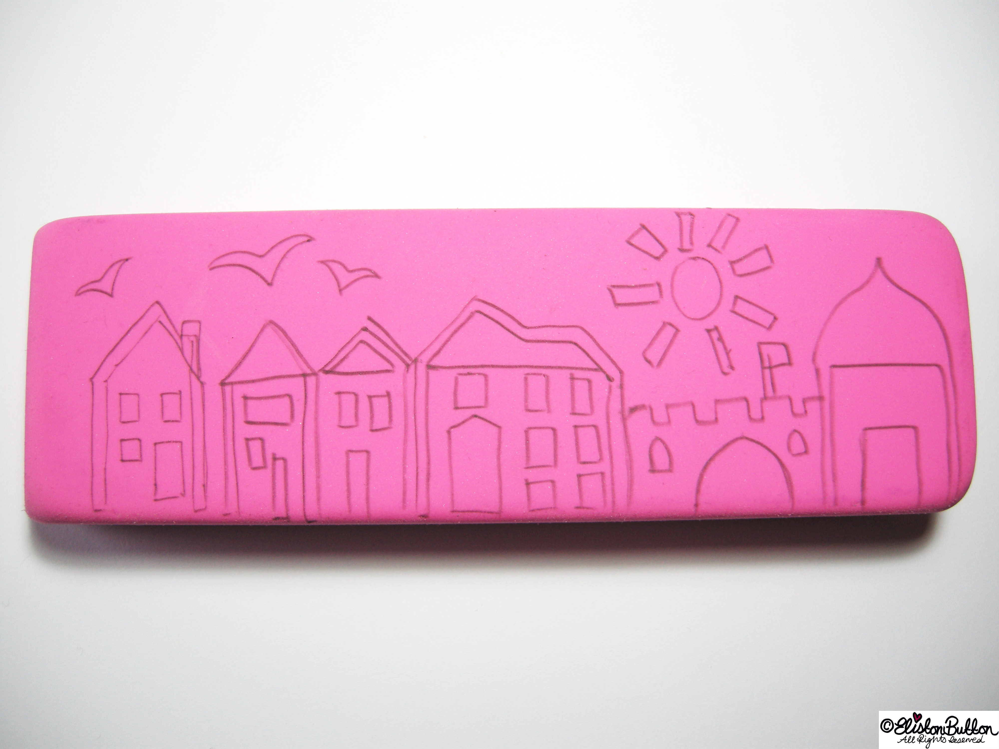 Drawn Out a Design on Rubber for Stamp Carving - Hand-Carved Streetscape Stamps at www.elistonbutton.com - Eliston Button - That Crafty Kid – Art, Design, Craft & Adventure.