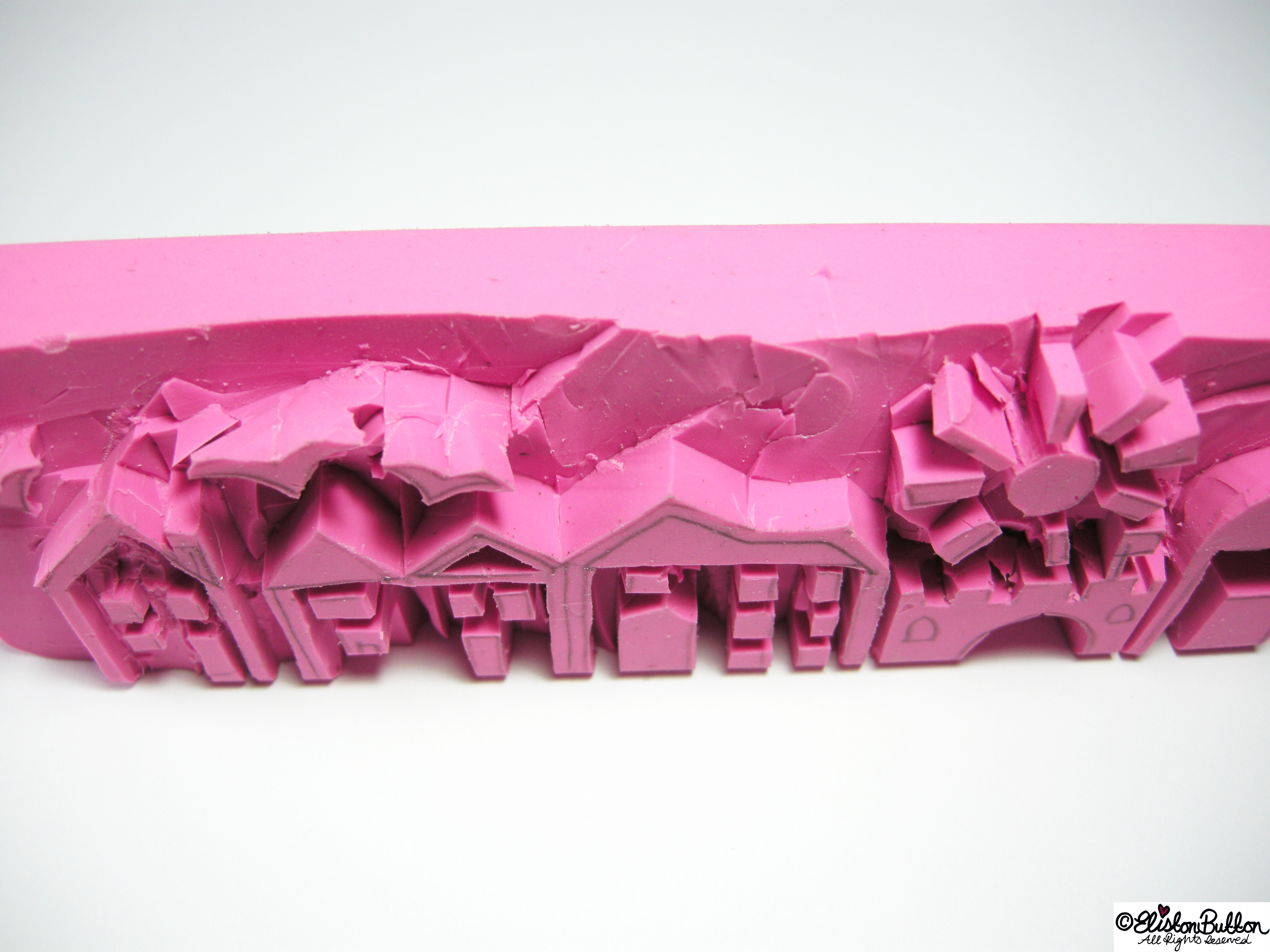 Hand-Carved Sreetscape Rubber Stamp - Angle View - Hand-Carved Streetscape Stamps at www.elistonbutton.com - Eliston Button - That Crafty Kid – Art, Design, Craft & Adventure.