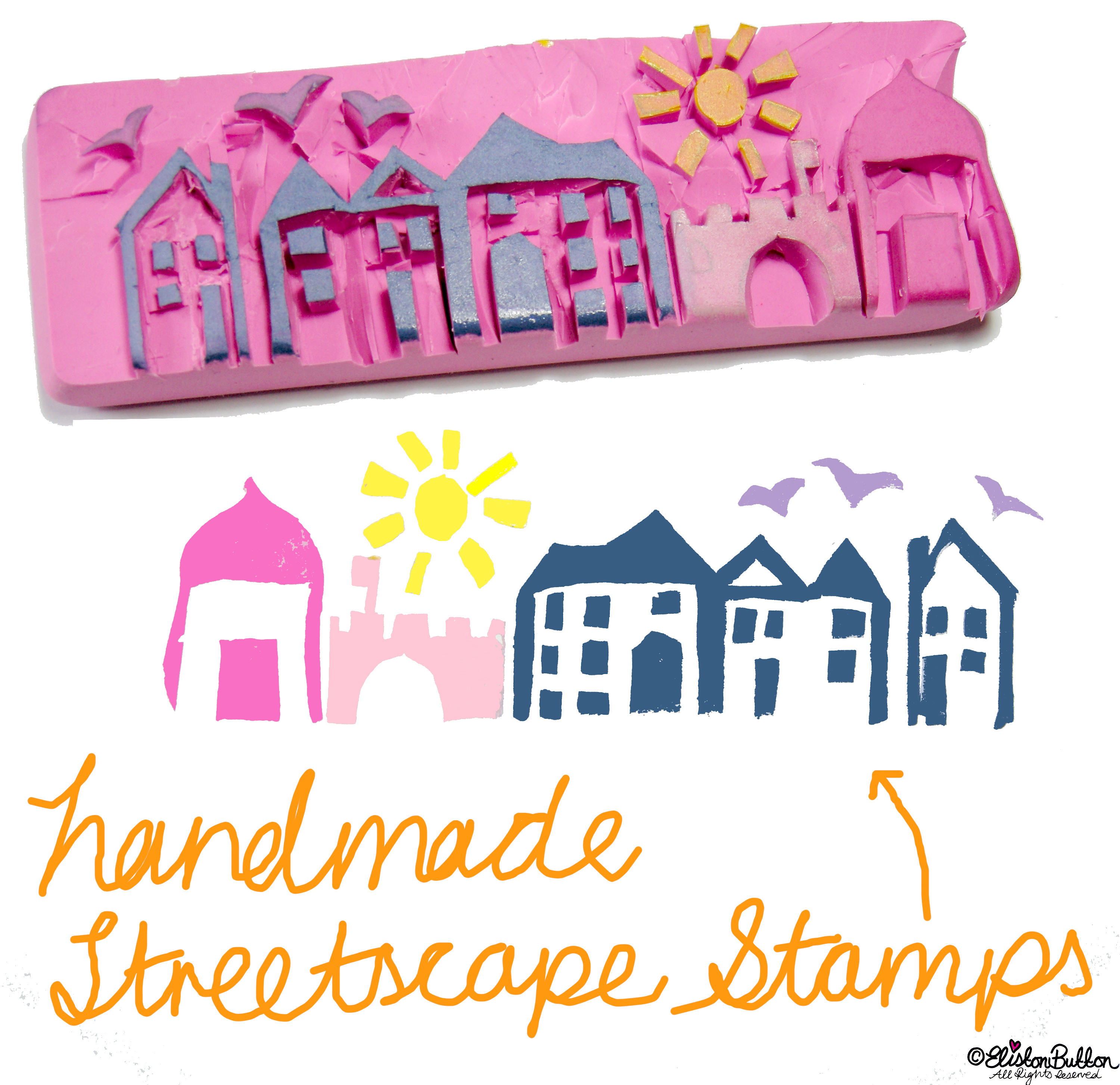 Hand Carved Streetscape Stamps - Hand-Carved Streetscape Stamps at www.elistonbutton.com - Eliston Button - That Crafty Kid – Art, Design, Craft & Adventure.