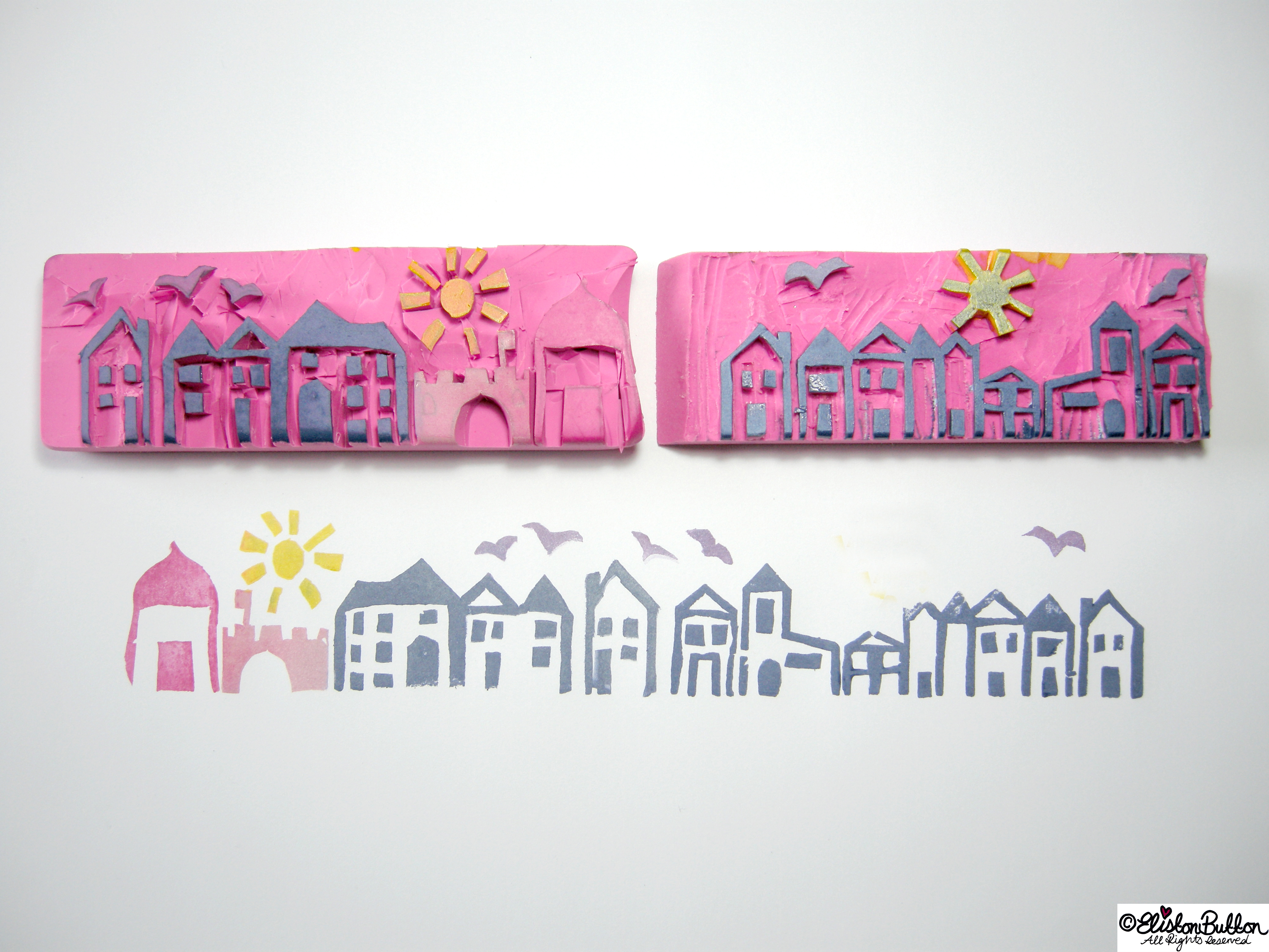 Hand Carved Streetscape Stamps with Inky Prints - Hand-Carved Streetscape Stamps at www.elistonbutton.com - Eliston Button - That Crafty Kid – Art, Design, Craft & Adventure.