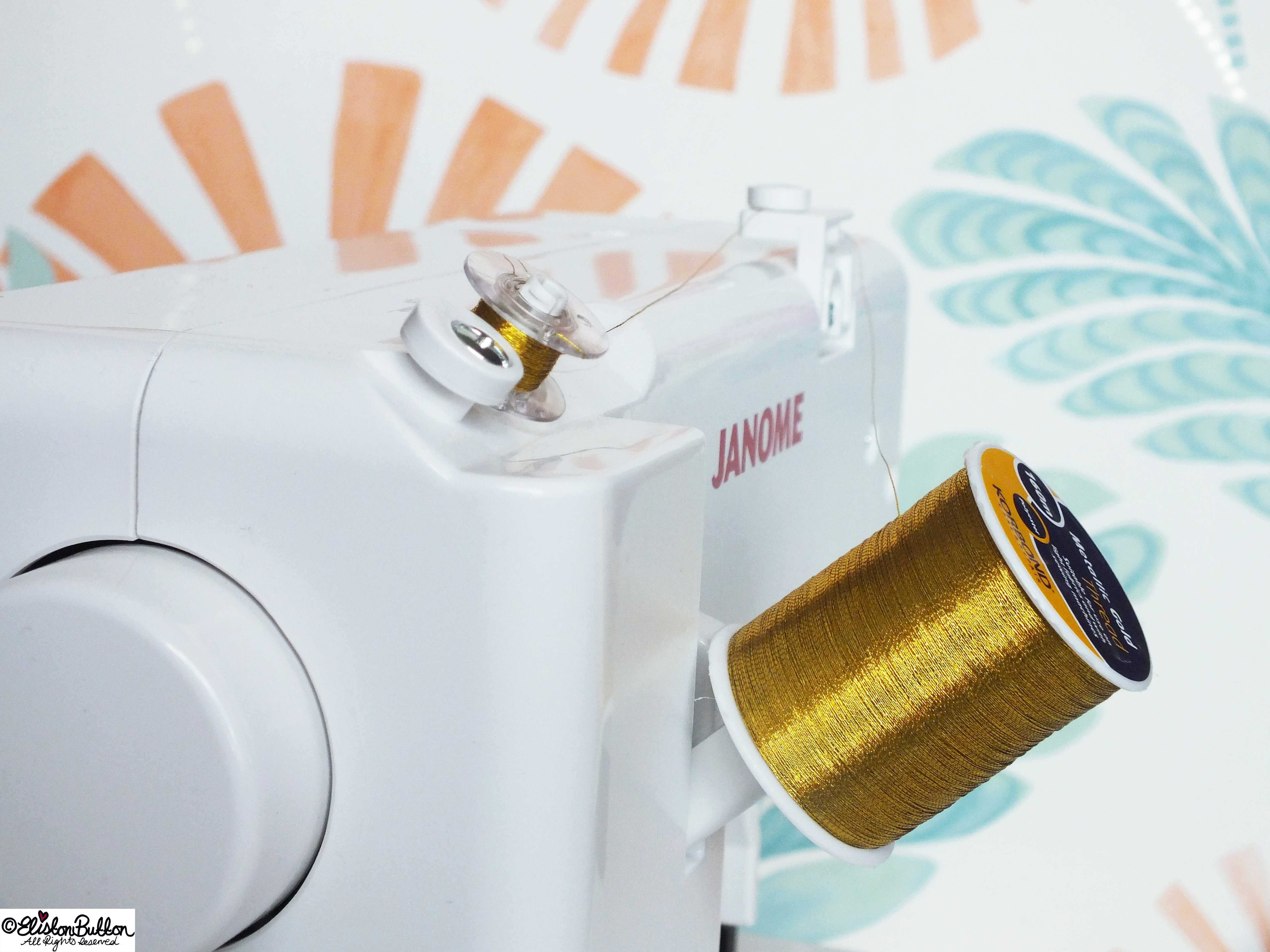Metallic Gold Cotton Thread all Threaded Up on the Janome 140M Mini Sewing Machine - Sew Good! – This Hobbycraft Sewing Machine at www.elistonbutton.com - Eliston Button - That Crafty Kid – Art, Design, Craft & Adventure.
