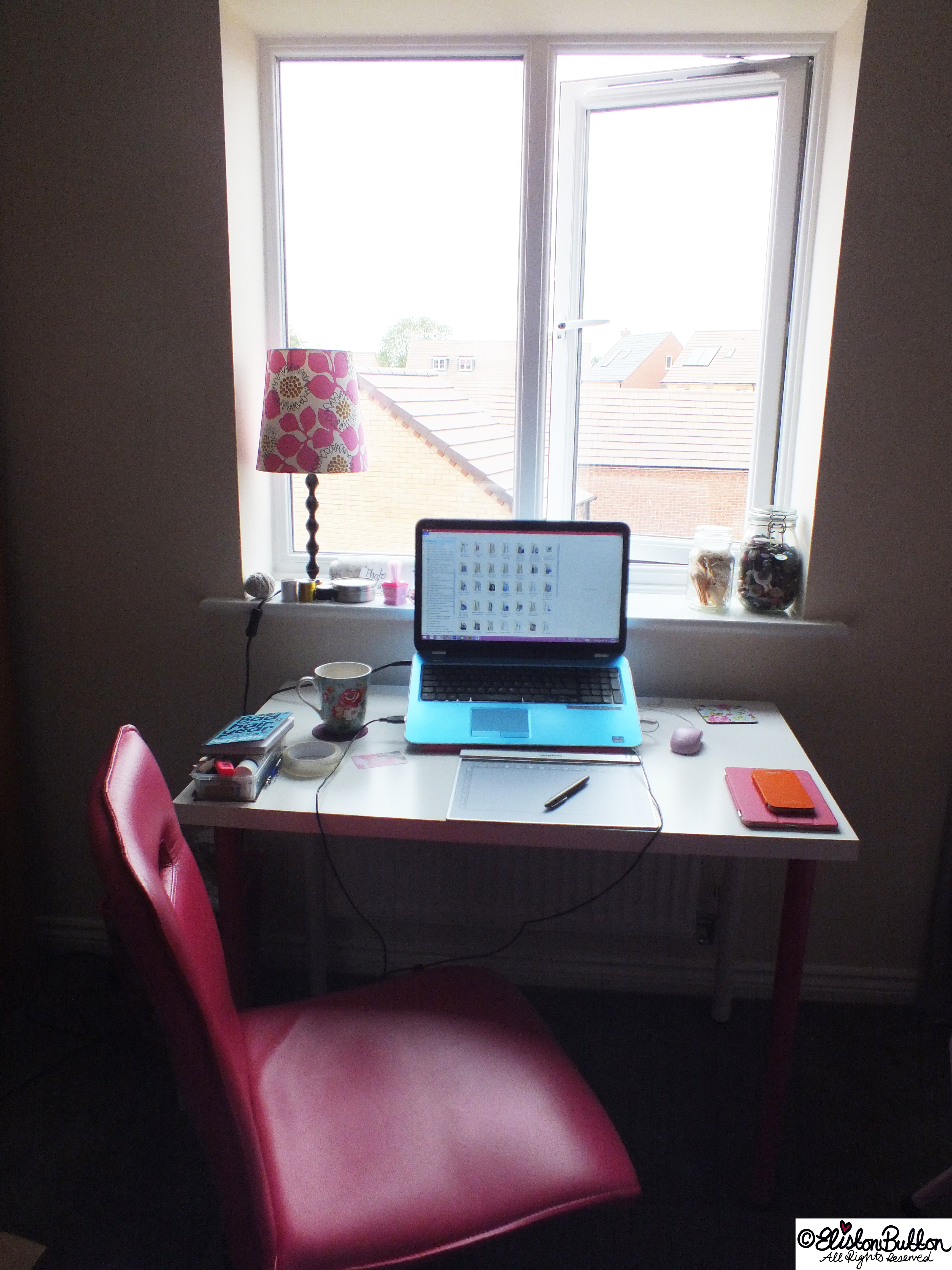 Temporary Work Space in the New Eliston Button Headquarters - Workspace Wednesday (and why I am shouting for a time out) at www.elistonbutton.com - Eliston Button - That Crafty Kid – Art, Design, Craft & Adventure.