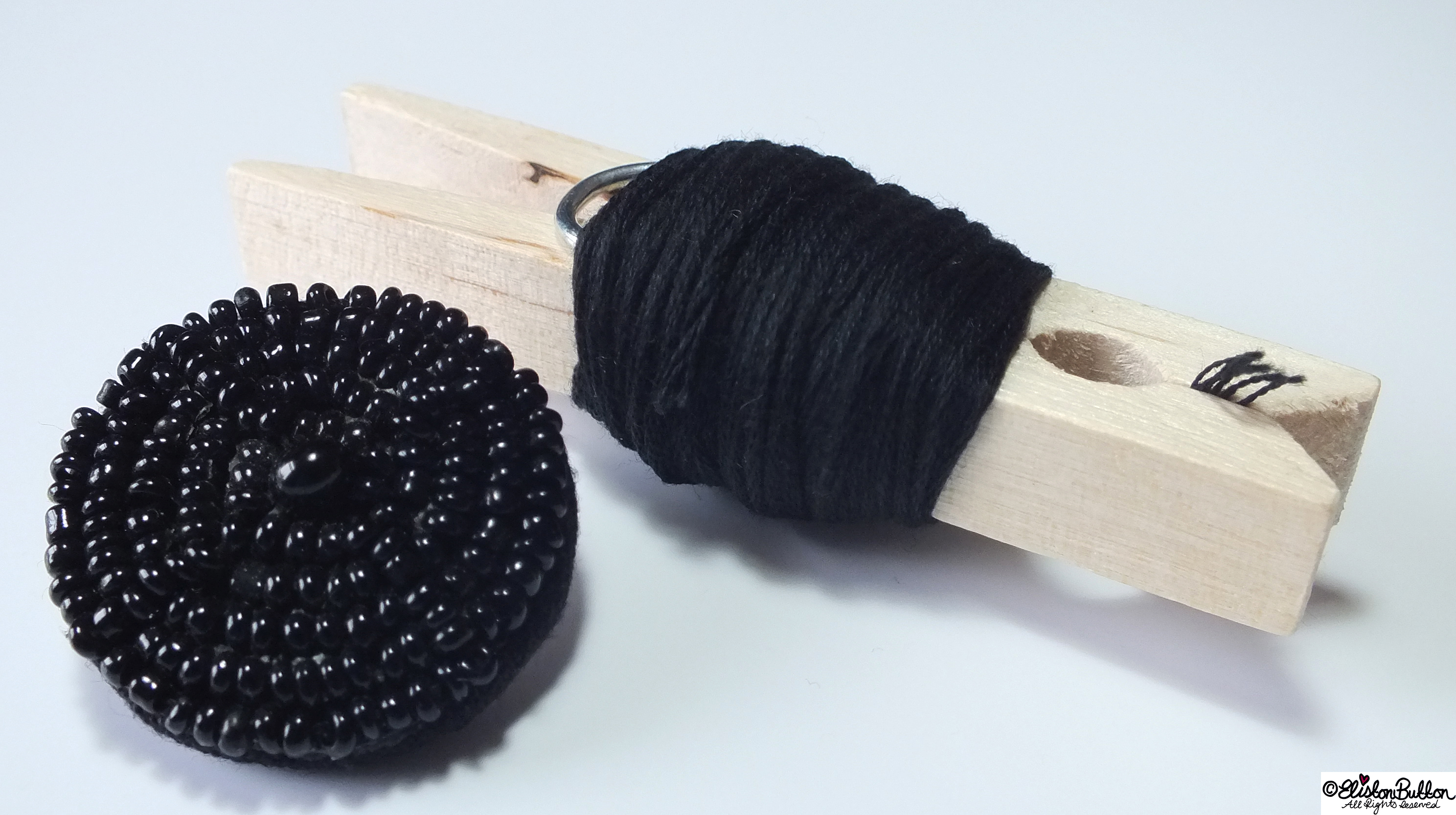 Beaded Black Button and Black Embroidery Thread - 27 Before 27 - Sunny Days at www.elistonbutton.com - Eliston Button - That Crafty Kid – Art, Design, Craft & Adventure.