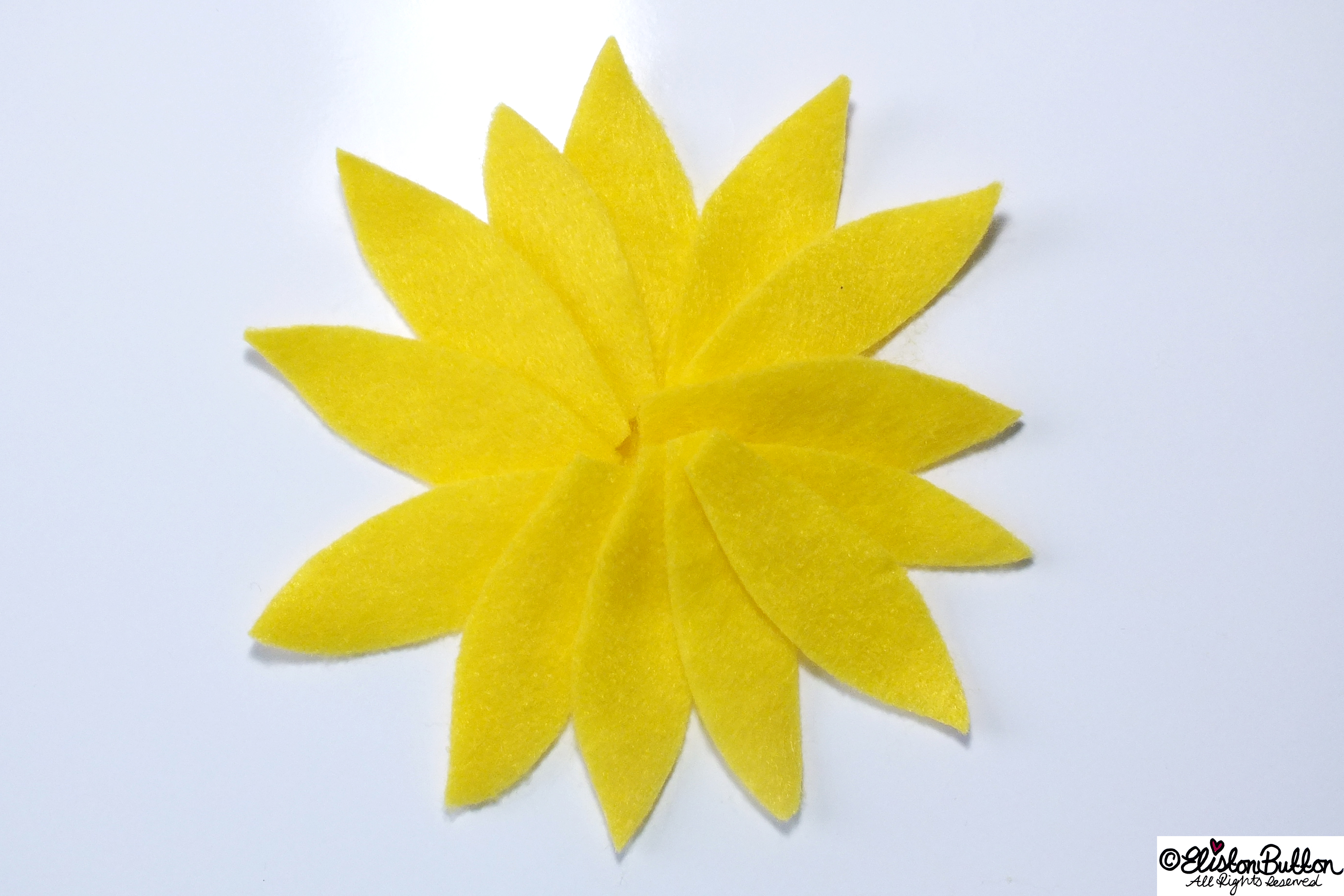 Sunshine Happy Yellow Felt Petals in a Flower Shape - 27 Before 27 - Sunny Days at www.elistonbutton.com - Eliston Button - That Crafty Kid – Art, Design, Craft & Adventure.