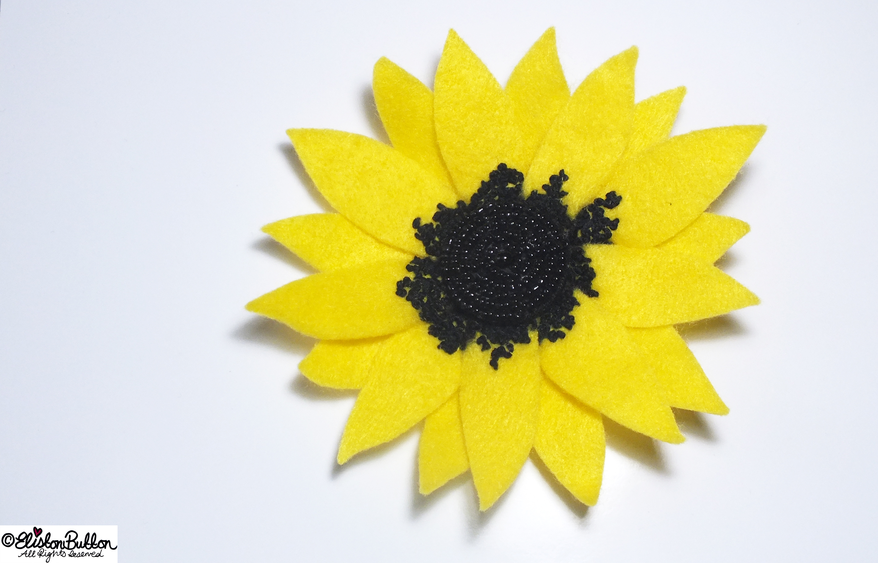 Sunny Days Happy Yellow Sunflower Embroidered Felt Flower Brooch - 27 Before 27 - Sunny Days at www.elistonbutton.com - Eliston Button - That Crafty Kid – Art, Design, Craft & Adventure.
