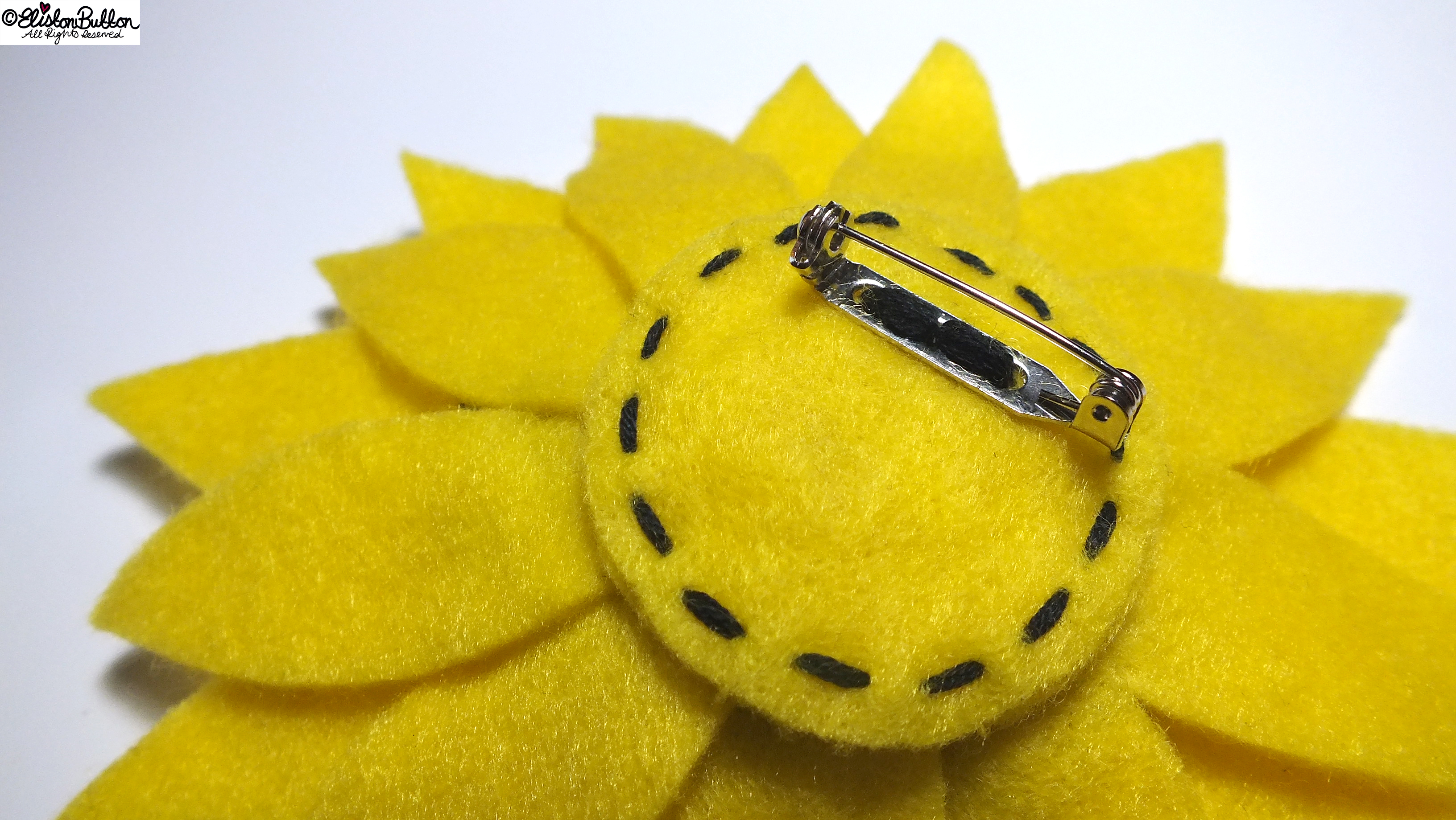 Sunny Days Happy Yellow Sunflower Embroidered Felt Flower Brooch - Back Detail - 27 Before 27 - Sunny Days at www.elistonbutton.com - Eliston Button - That Crafty Kid – Art, Design, Craft & Adventure.