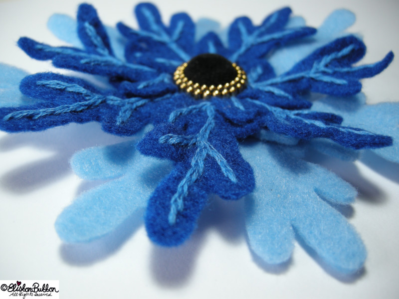 Frozen - Snowflake Inspired Embroidered Felt Flower Brooch - 27 Before 27 - I Did It! (and two big announcements) at www.elistonbutton.com - Eliston Button - That Crafty Kid – Art, Design, Craft & Adventure.