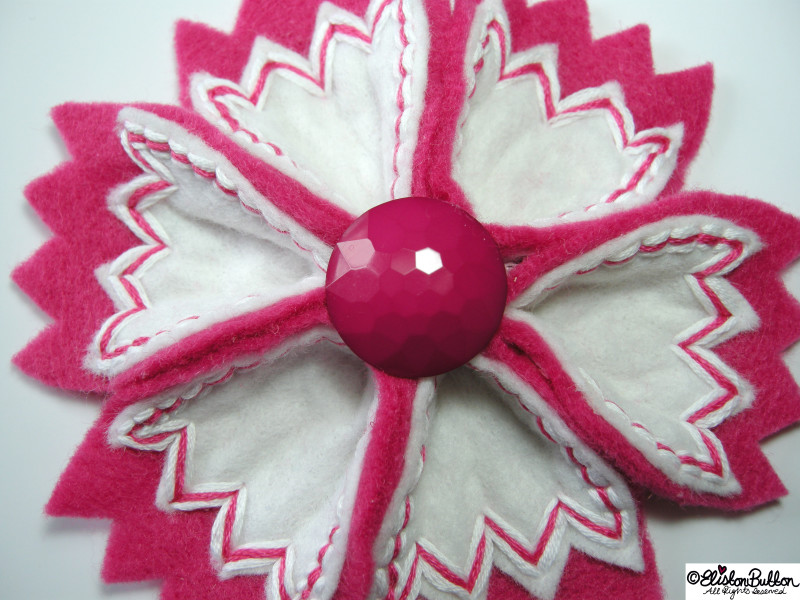 Zig-a-Zig-Ah! - Hot Pink and Crisp White Embroidered Felt Flower Brooch - 27 Before 27 - I Did It! (and two big announcements) at www.elistonbutton.com - Eliston Button - That Crafty Kid – Art, Design, Craft & Adventure.