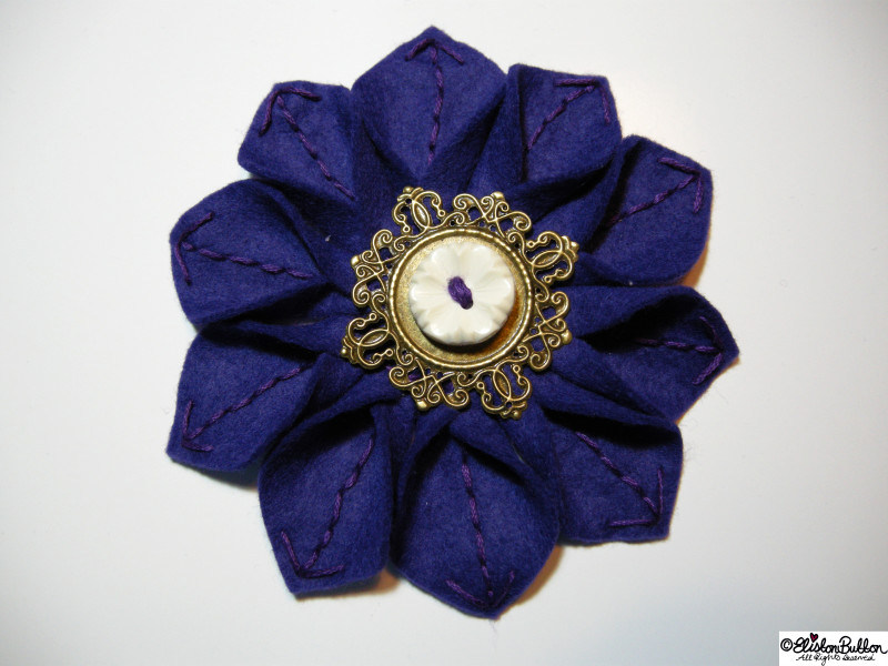 Royal Purple Embroidered Felt Flower Brooch - 27 Before 27 – Royal at www.elistonbutton.com - Eliston Button - That Crafty Kid – Art, Design, Craft & Adventure.