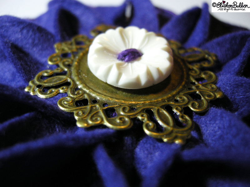 Royal Purple Embroidered Felt Flower Brooch - Close Up - 27 Before 27 – Royal at www.elistonbutton.com - Eliston Button - That Crafty Kid – Art, Design, Craft & Adventure.