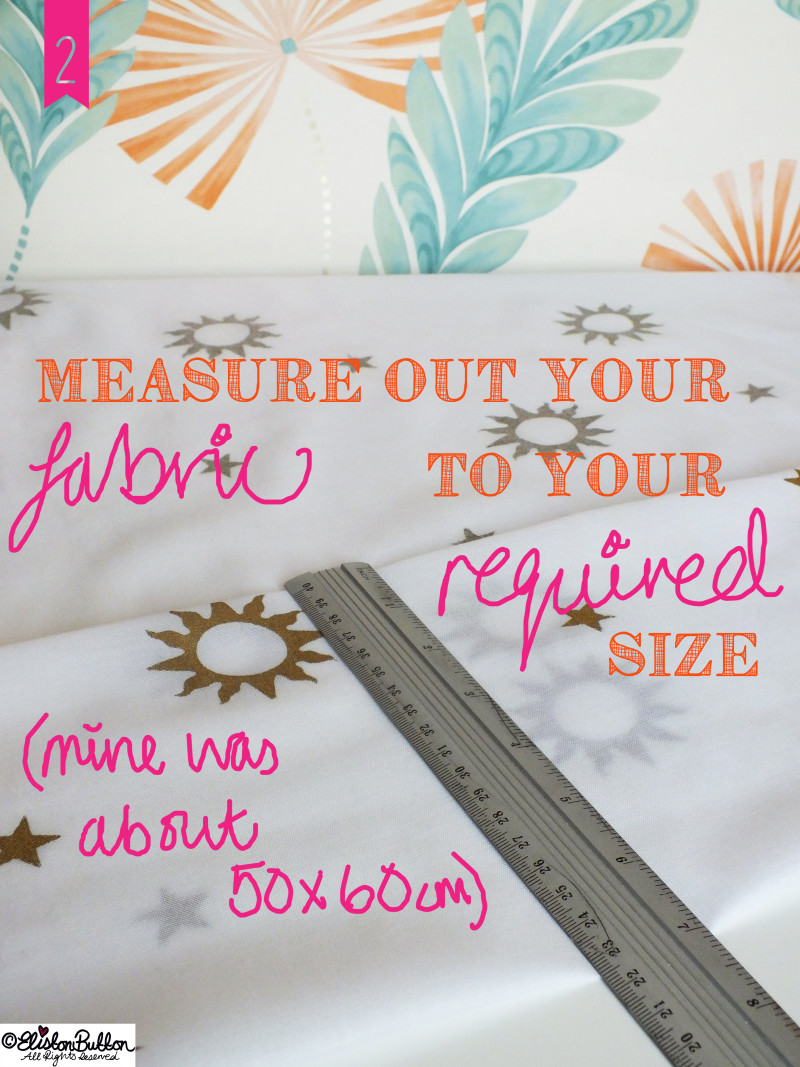 Measuring the Fabric - Fabric Carrier Bag Holder Tutorial at www.elistonbutton.com - Eliston Button - That Crafty Kid – Art, Design, Craft & Adventure.