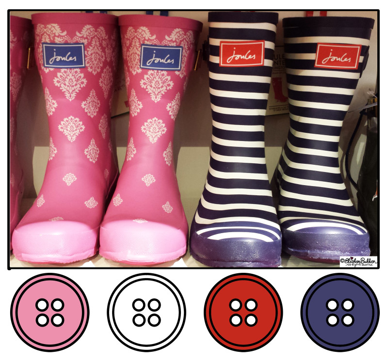 Pink and Navy Striped Wellington Boots in Joules - Button Colour Adventure at www.elistonbutton.com - Eliston Button - That Crafty Kid – Art, Design, Craft & Adventure.