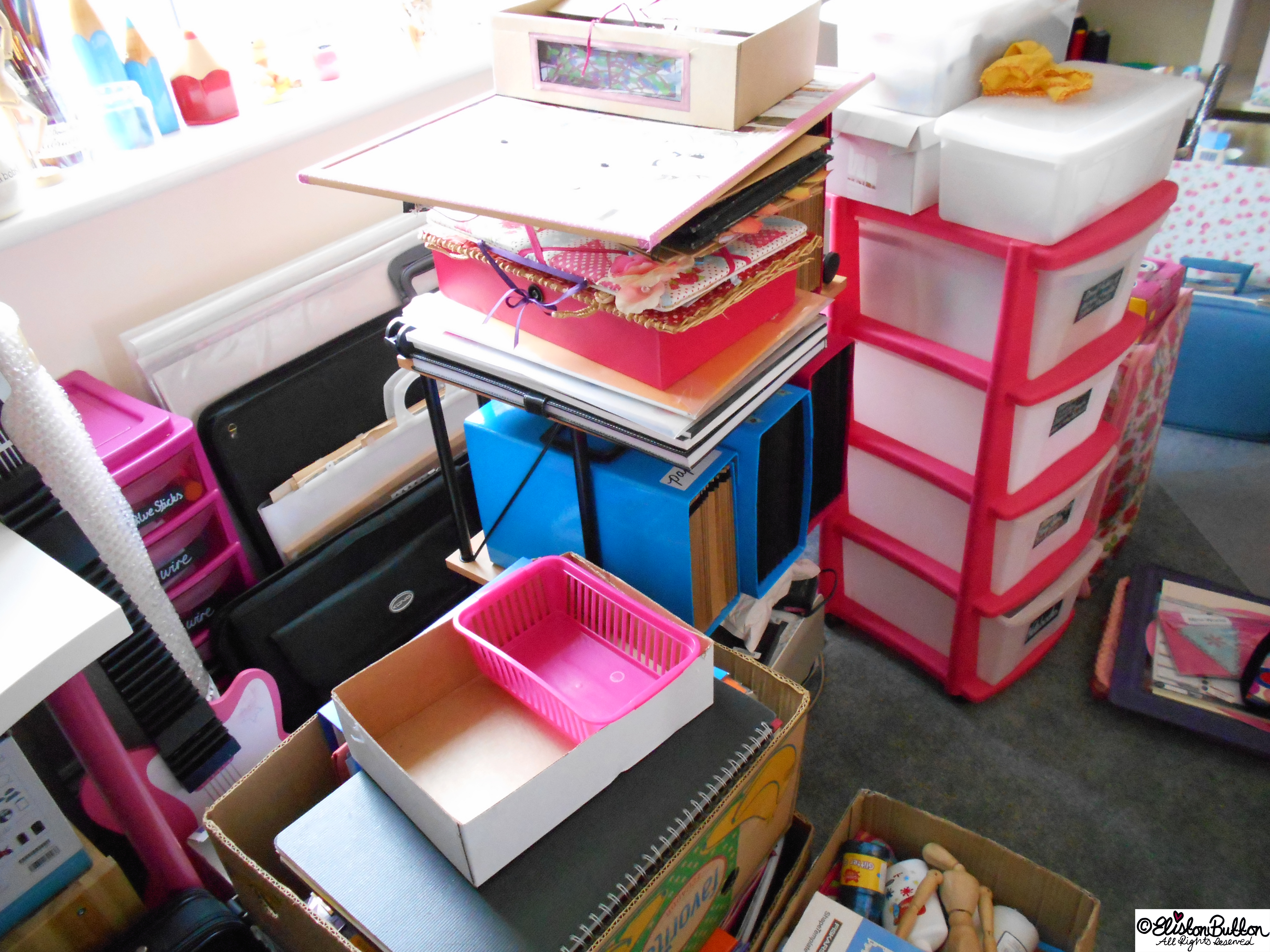 Boxes and Craft Storage - Workspace Wednesday - Studio Update at www.elistonbutton.com - Eliston Button - That Crafty Kid – Art, Design, Craft & Adventure.