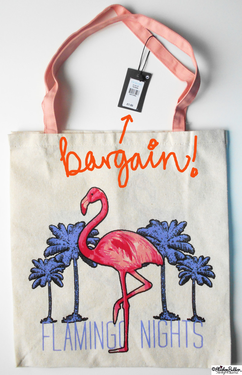 02a. Flamingo Tote Bag - Tutorial Tuesday - Tote Bag Wall Art at www.elistonbutton.com - Eliston Button - That Crafty Kid – Art, Design, Craft & Adventure.