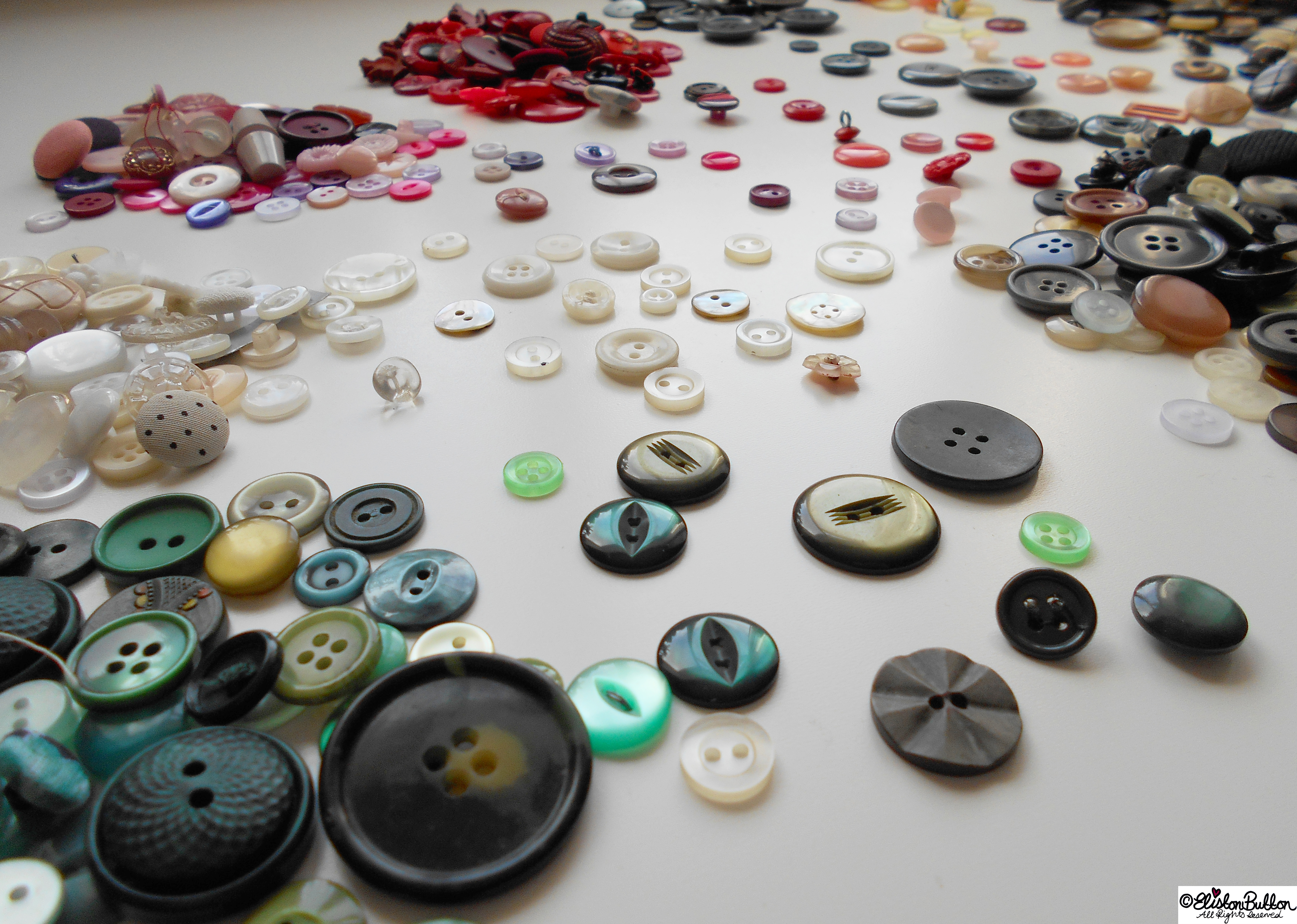 Buttons - Green and White - Workspace Wednesday - Button Party at www.elistonbutton.com - Eliston Button - That Crafty Kid – Art, Design, Craft & Adventure.