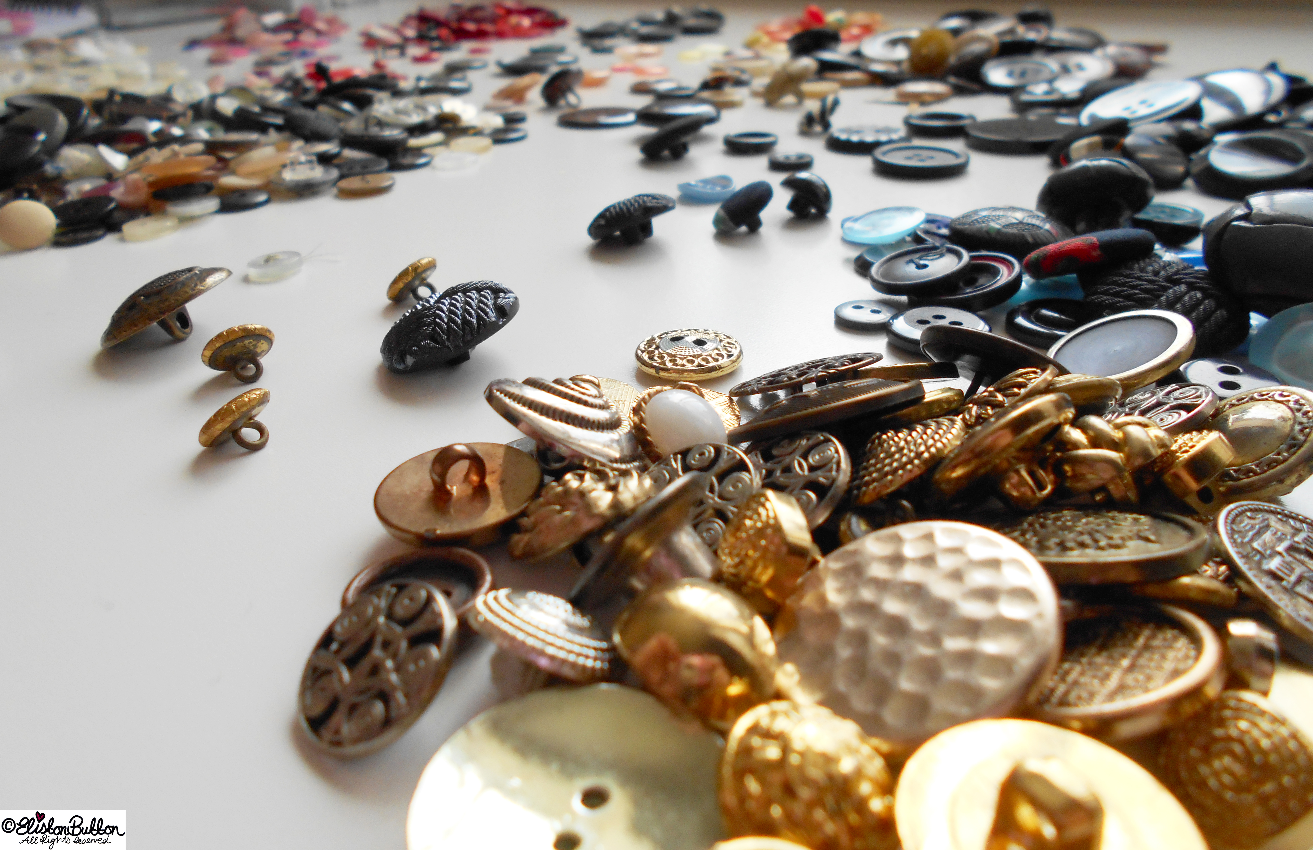 Metal Buttons - Workspace Wednesday - Button Party at www.elistonbutton.com - Eliston Button - That Crafty Kid – Art, Design, Craft & Adventure.