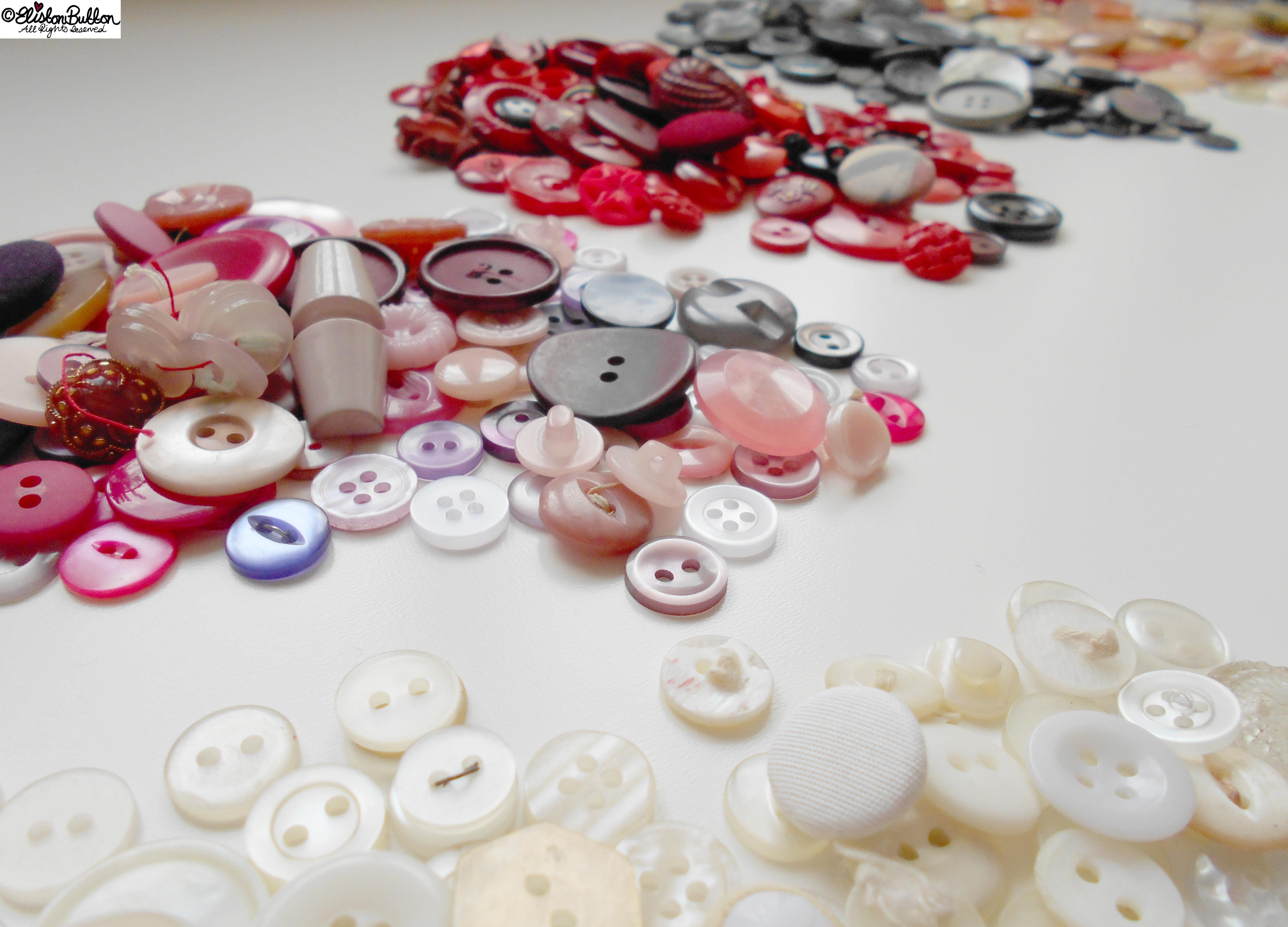 Pink and Purple Buttons - Workspace Wednesday - Button Party at www.elistonbutton.com - Eliston Button - That Crafty Kid – Art, Design, Craft & Adventure.