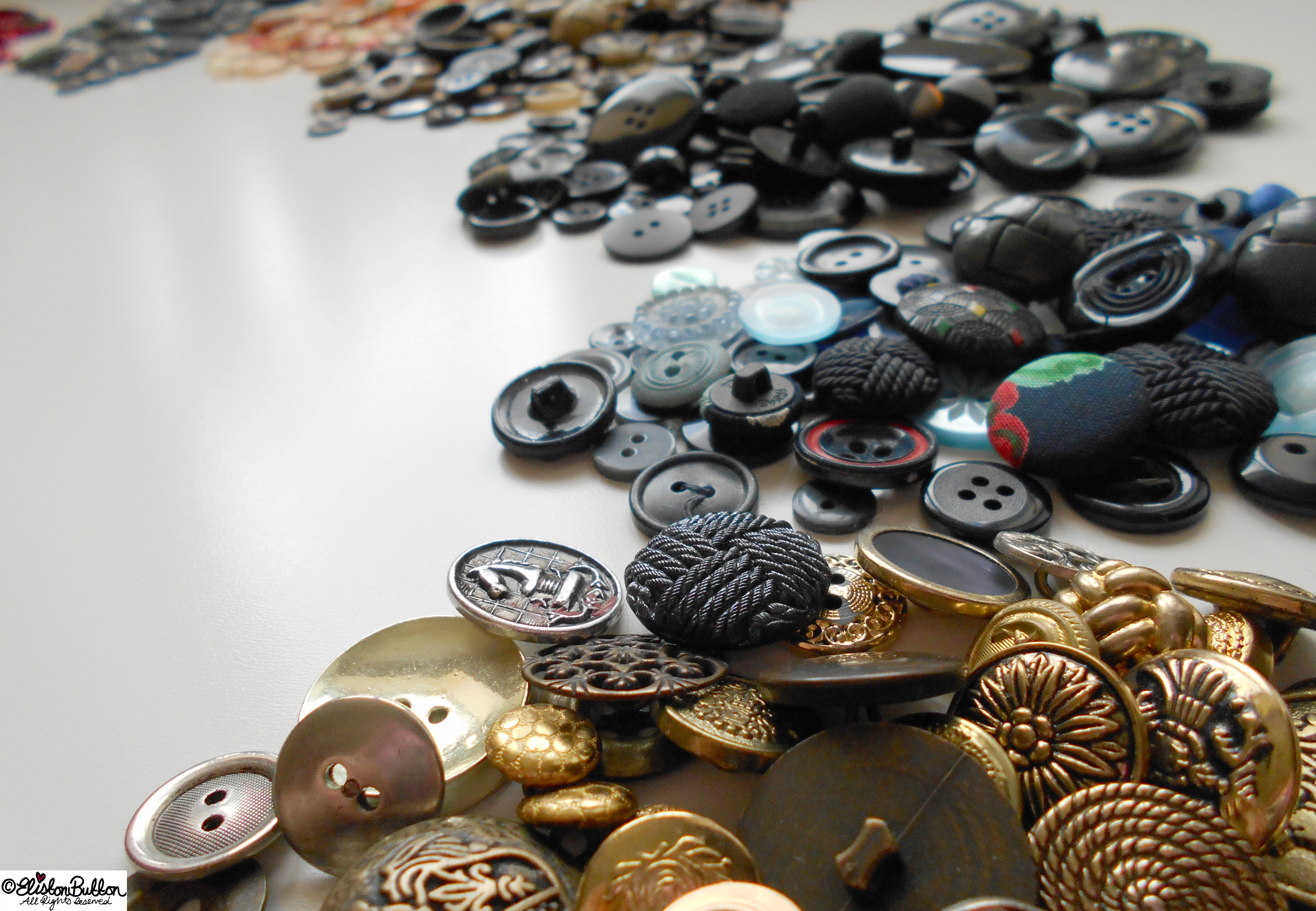 Metal and Plastic Button Collection - Workspace Wednesday - Button Party at www.elistonbutton.com - Eliston Button - That Crafty Kid – Art, Design, Craft & Adventure.