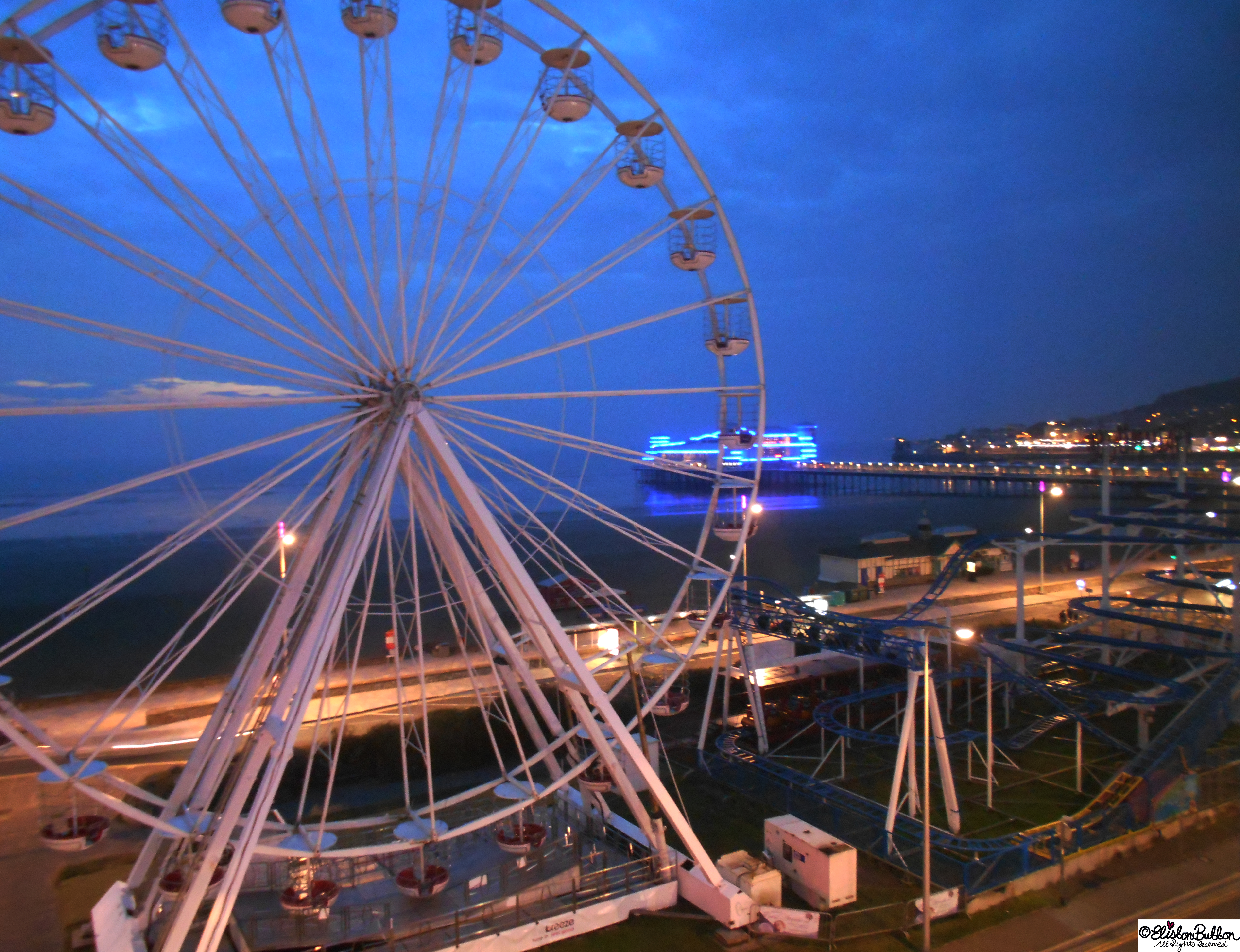 Weston-Super-Mare Ferris Wheel at Night - The Great British Seaside (and an Eliston Button Autumn Sale) at www.elistonbutton.com - Eliston Button - That Crafty Kid – Art, Design, Craft & Adventure.