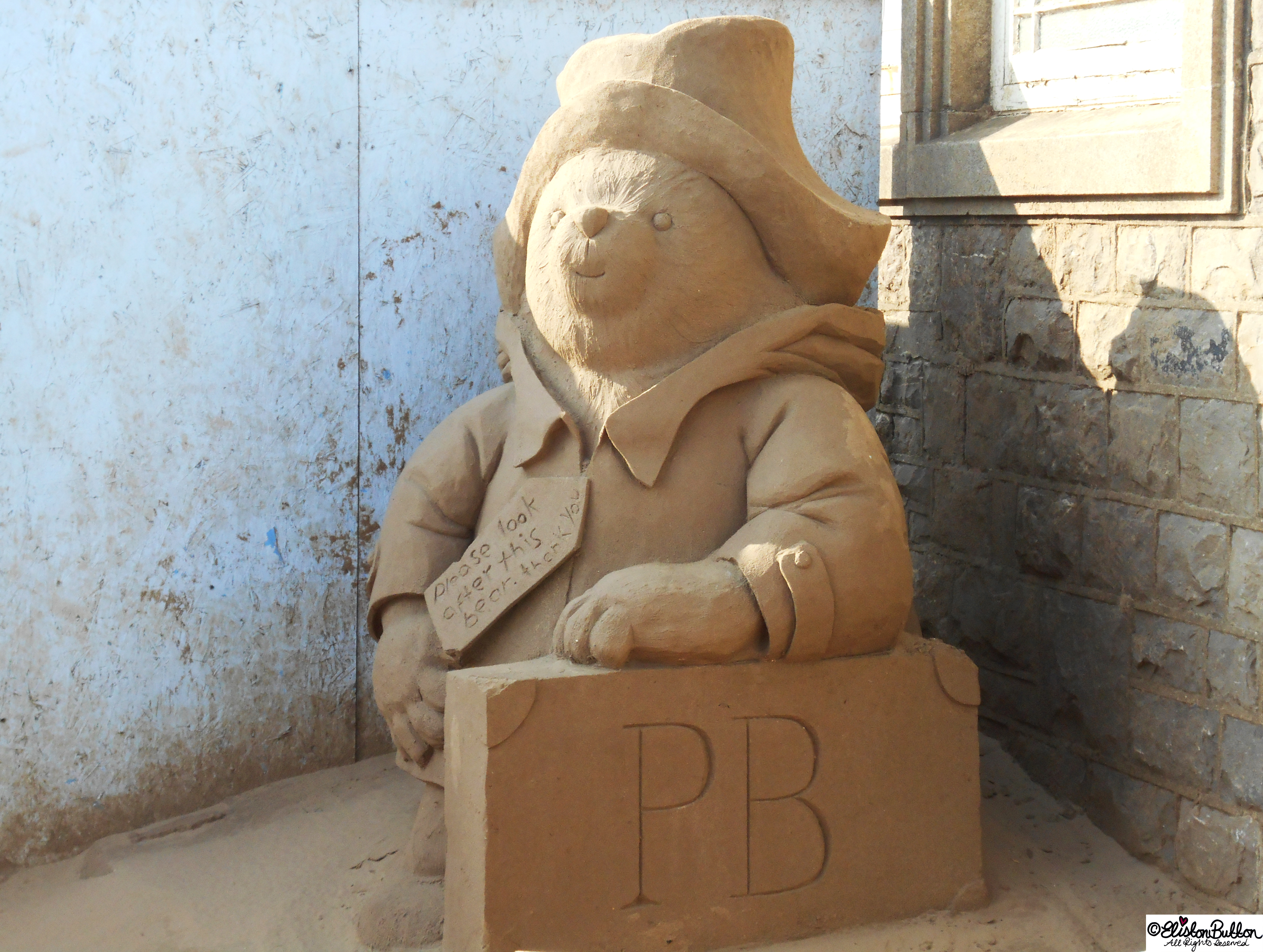 Paddington Bear Sand Sculpture - The Great British Seaside (and an Eliston Button Autumn Sale) at www.elistonbutton.com - Eliston Button - That Crafty Kid – Art, Design, Craft & Adventure.