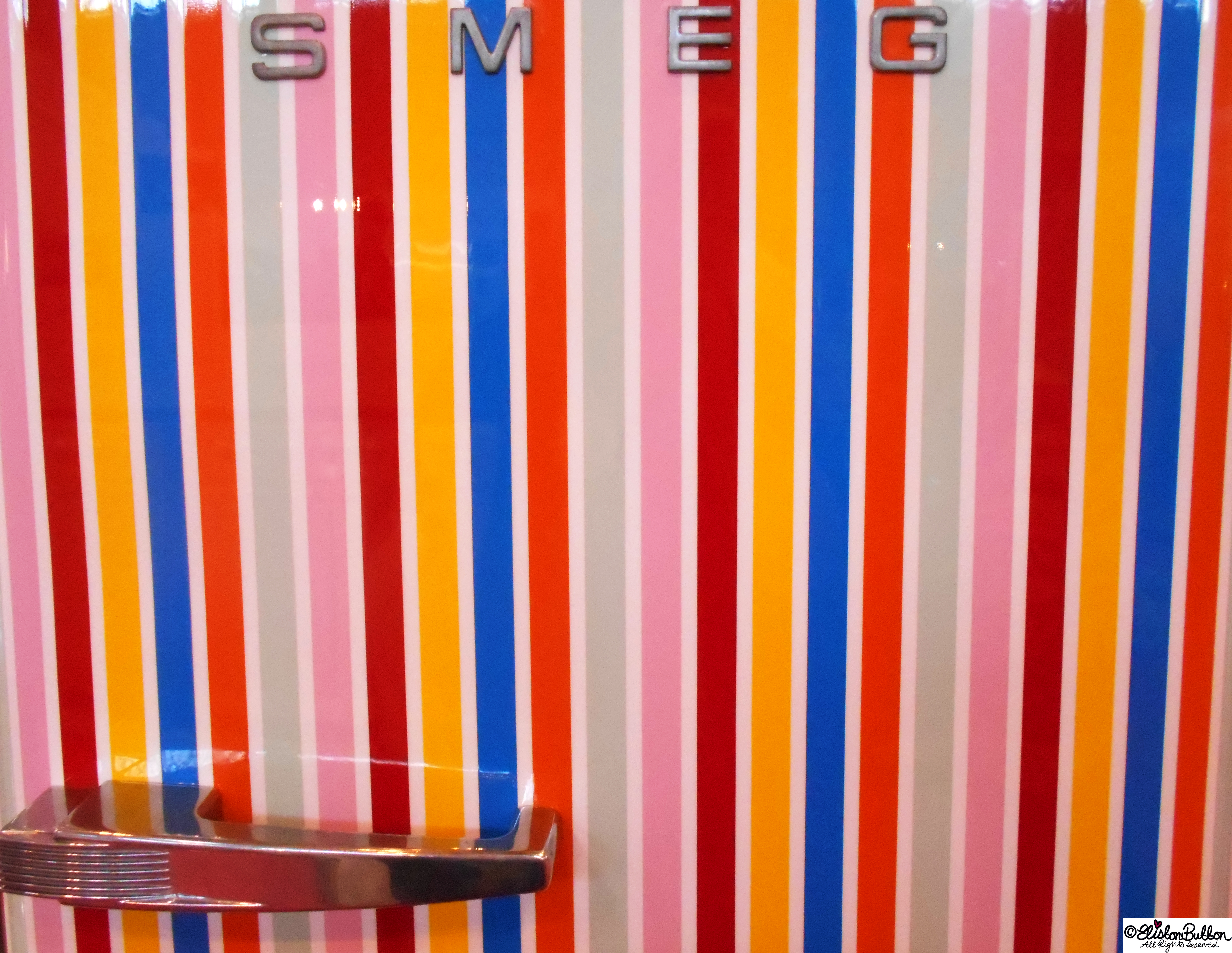 Smeg Stripy Fridge - Grand Designs Live - Part One at www.elistonbutton.com - Eliston Button - That Crafty Kid – Art, Design, Craft & Adventure.