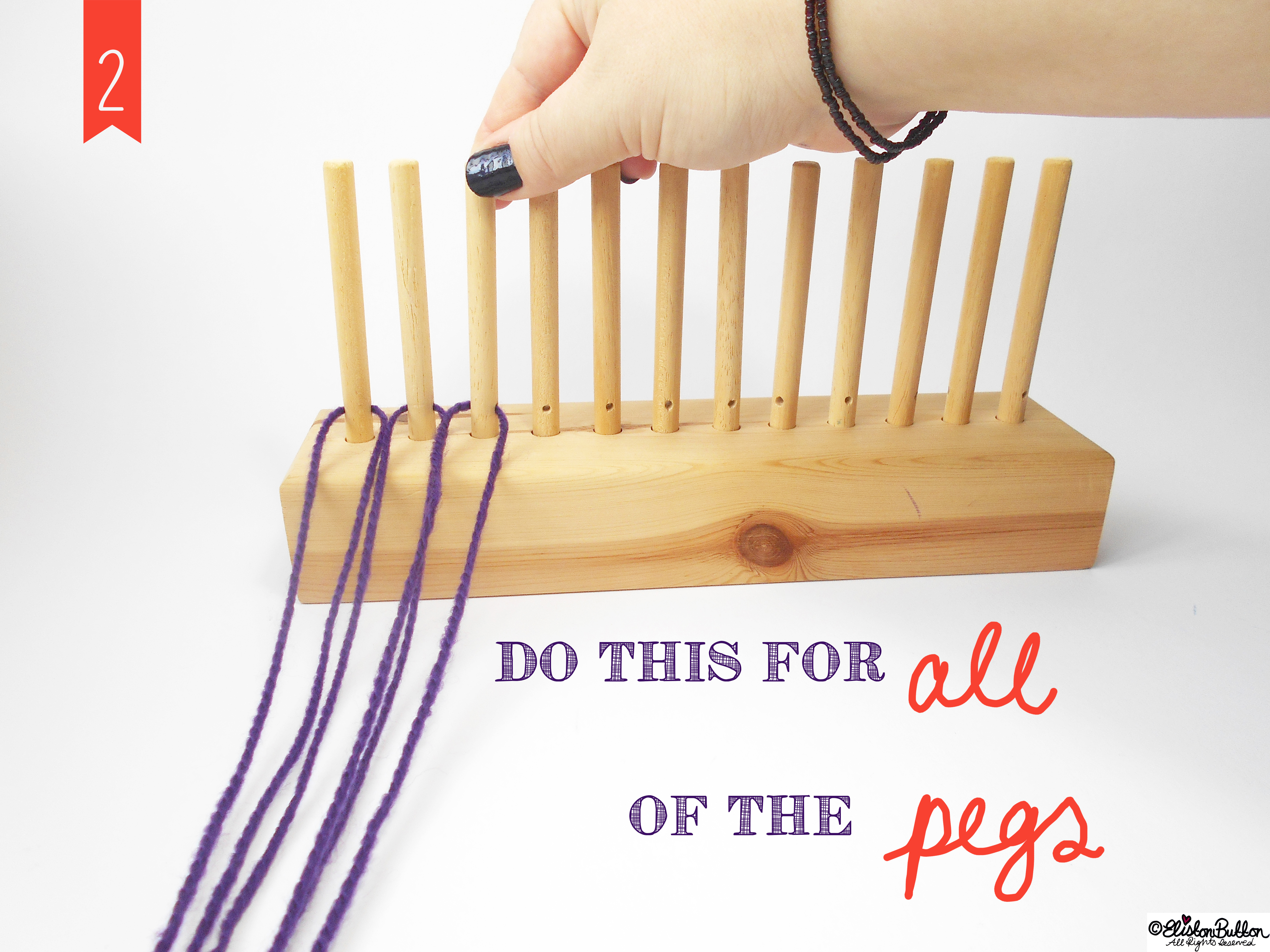 Put the Pegs into the Loom. - Tutorial Tuesday - Peg Loom Weaving - Part One at www.elistonbutton.com - Eliston Button - That Crafty Kid – Art, Design, Craft & Adventure.