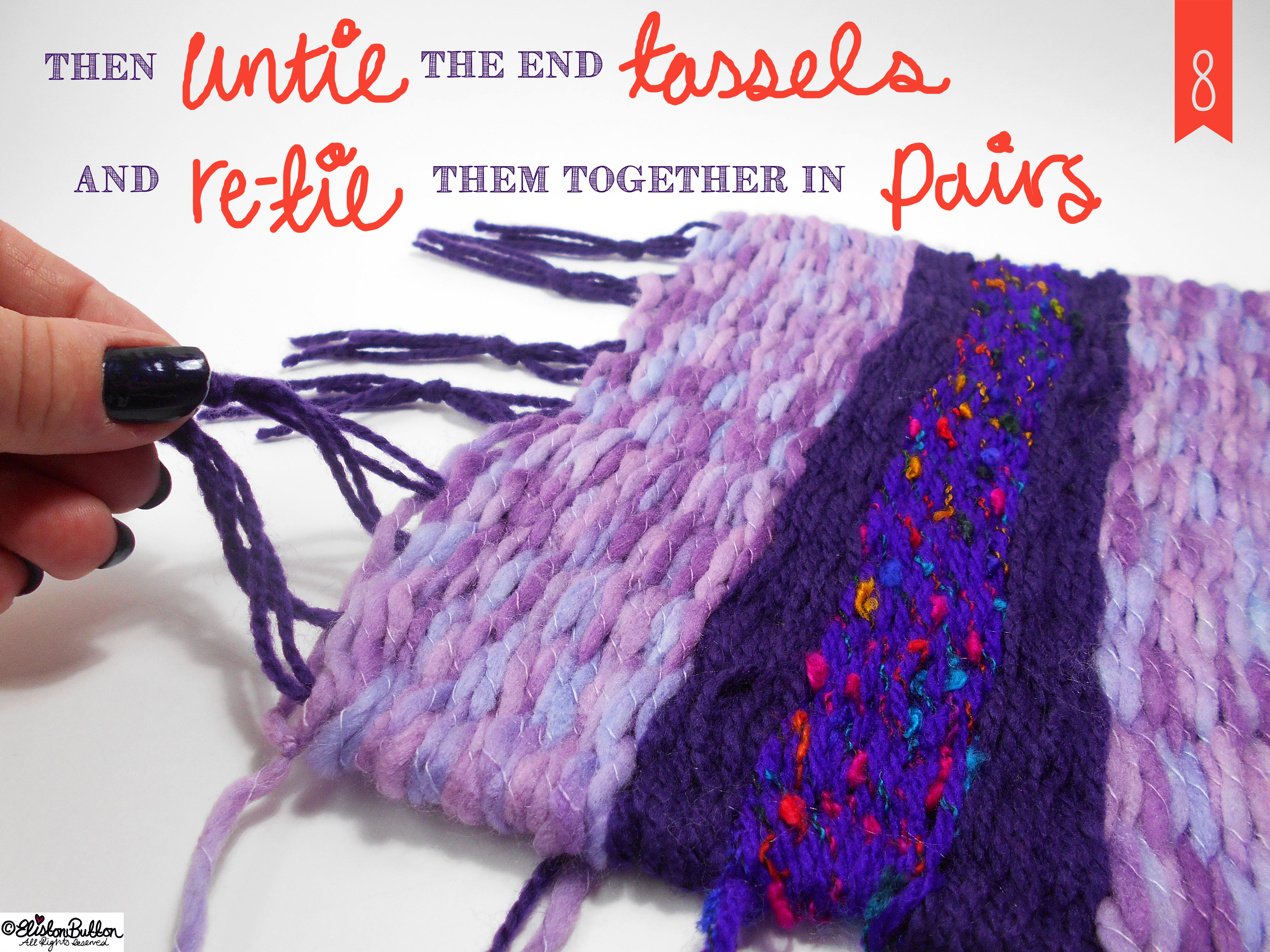 Untie the End Tassels and Tie Together in Pairs. - Tutorial Tuesday - Peg Loom Weaving - Part Two at www.elistonbutton.com - Eliston Button - That Crafty Kid – Art, Design, Craft & Adventure.