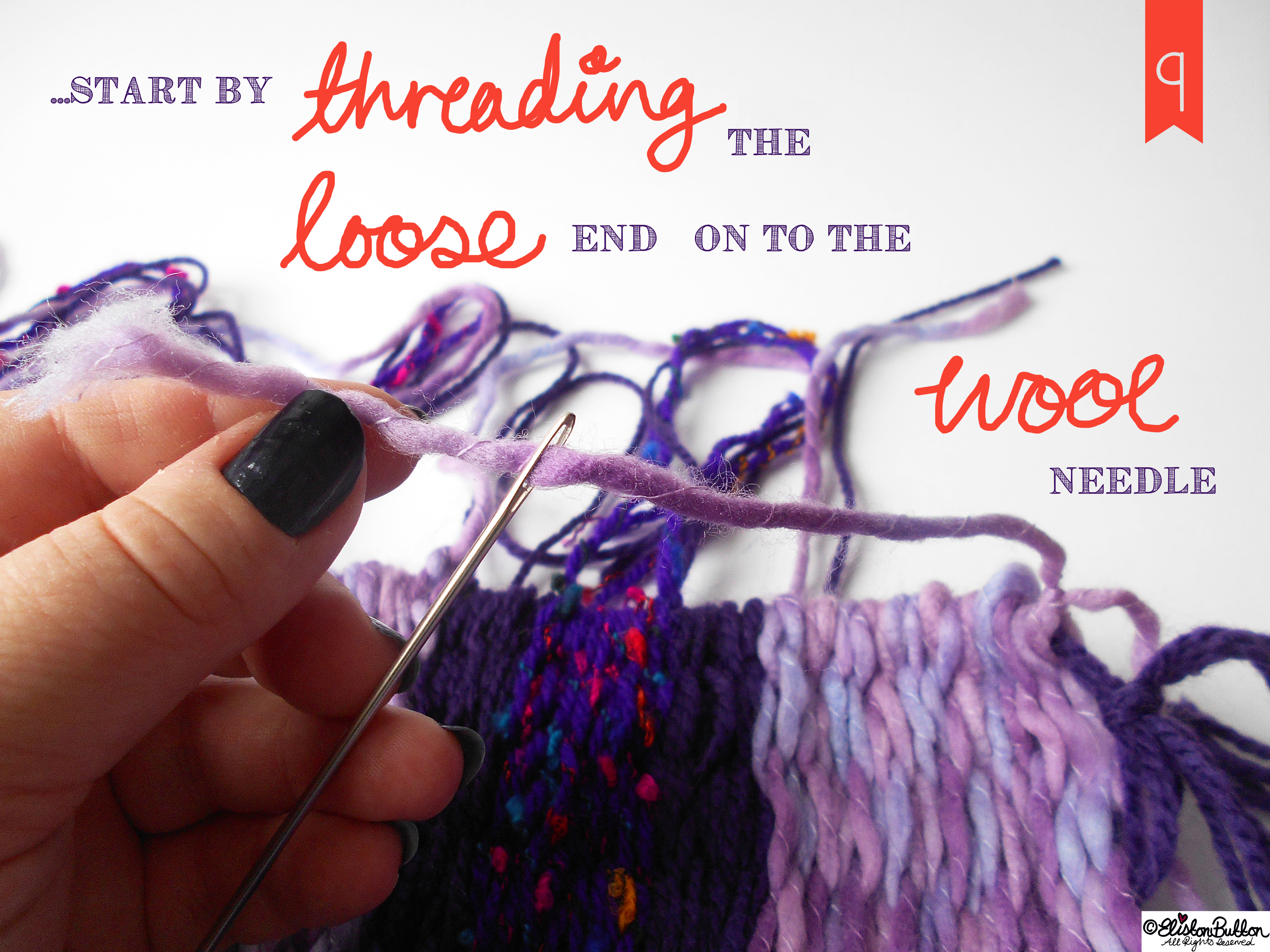 Thread the Loose Ends onto the Wool Needle. -n Tutorial Tuesday - Peg Loom Weaving - Part Two at www.elistonbutton.com - Eliston Button - That Crafty Kid – Art, Design, Craft & Adventure.