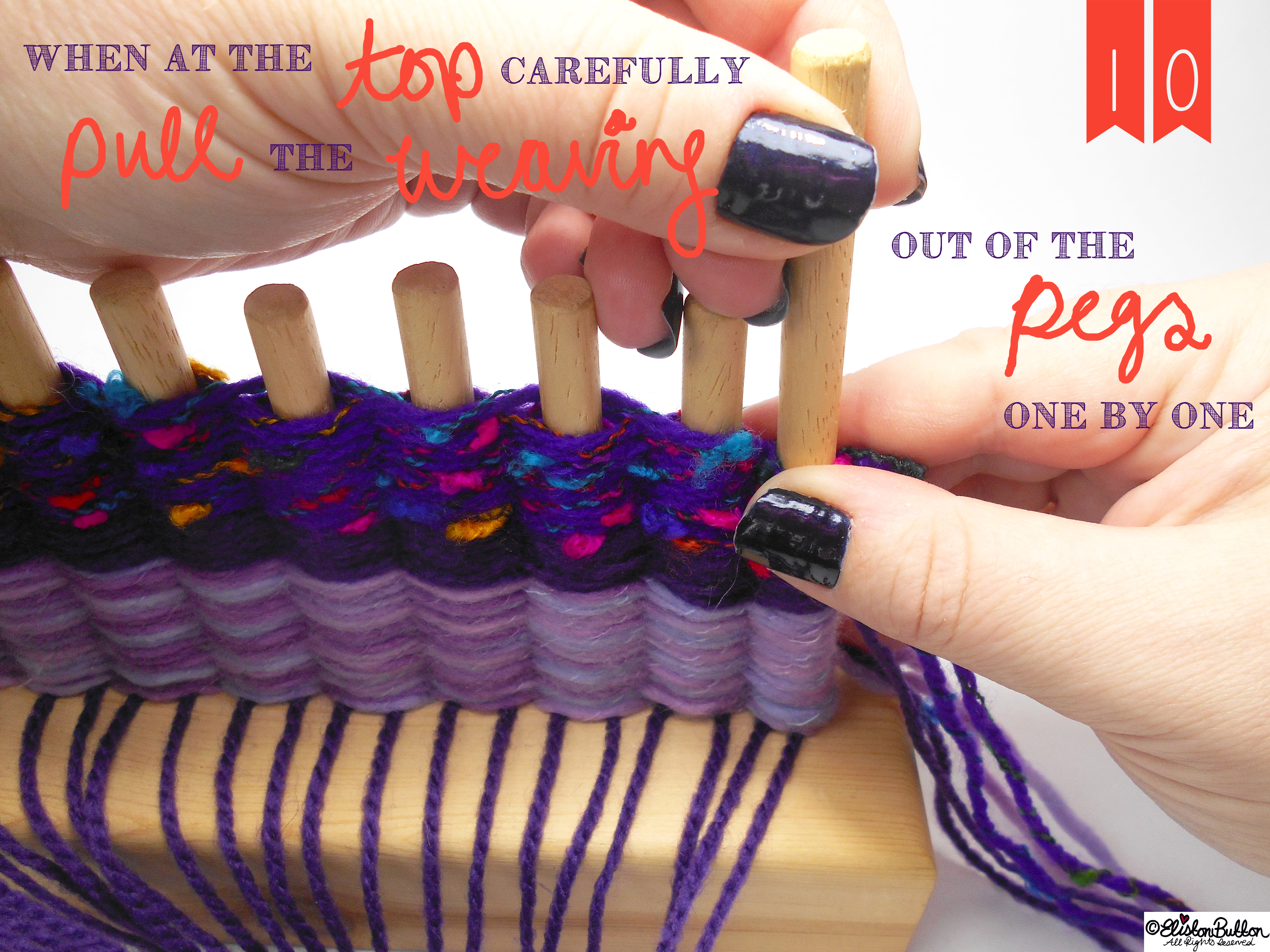 Remove the Wooden Pegs from the Loom. - Tutorial Tuesday - Peg Loom Weaving - Part One at www.elistonbutton.com - Eliston Button - That Crafty Kid – Art, Design, Craft & Adventure.