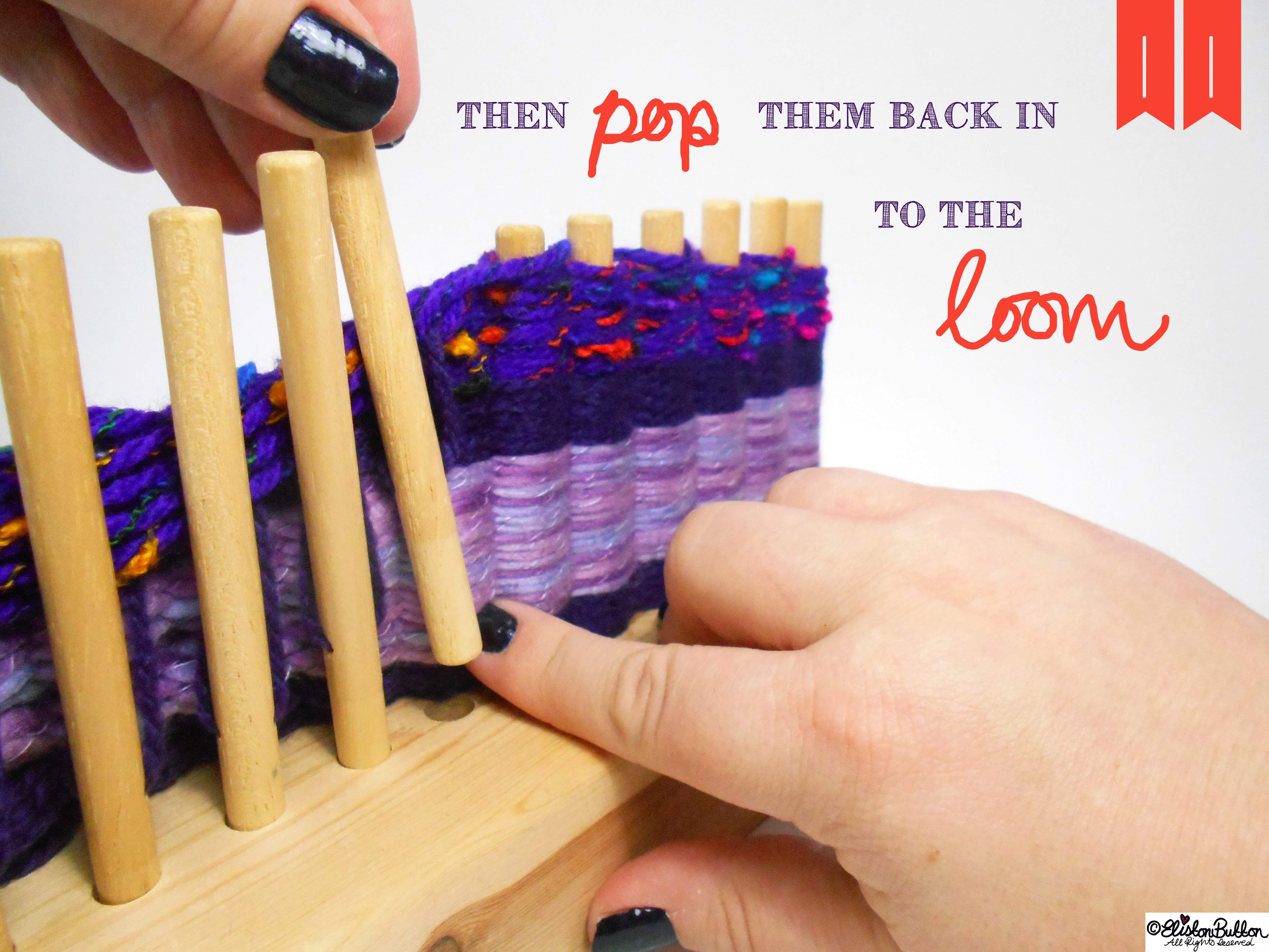 Put the Pegs Back into the Wooden Loom. - Tutorial Tuesday - Peg Loom Weaving - Part One at www.elistonbutton.com - Eliston Button - That Crafty Kid – Art, Design, Craft & Adventure.