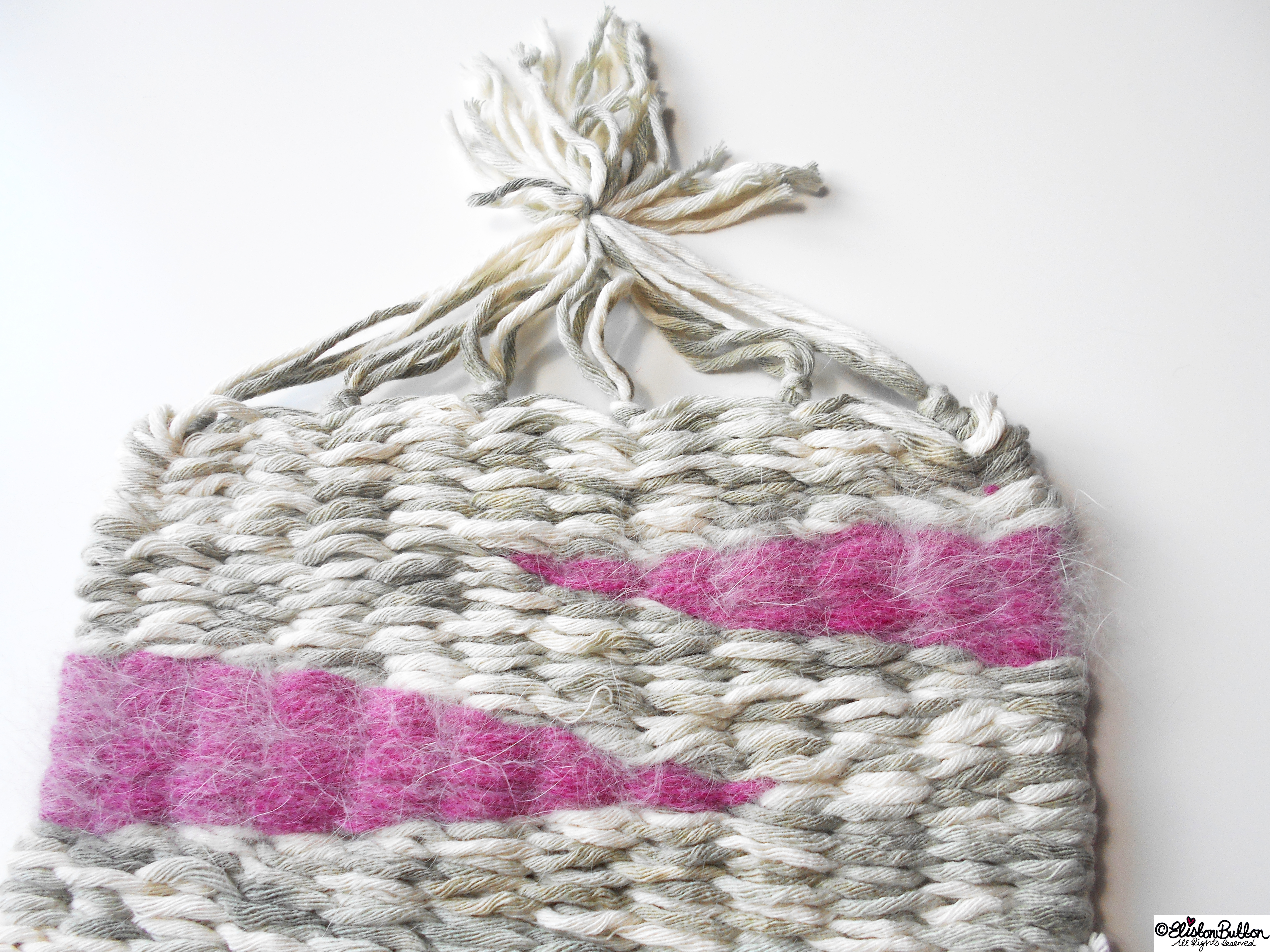 Grey and Pink Weaving with Tassels - Workspace Wednesday - Weave It To Me...at www.elistonbutton.com - Eliston Button - That Crafty Kid – Art, Design, Craft & Adventure.