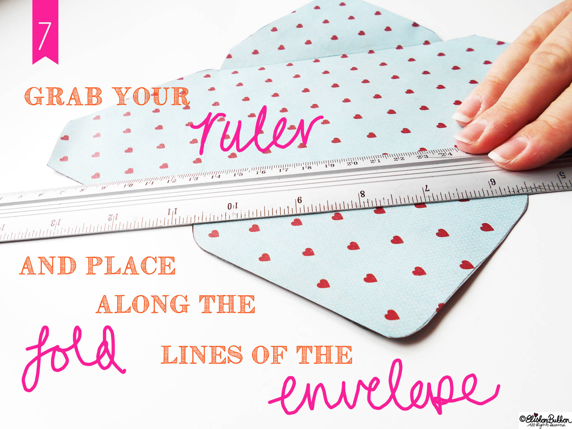 11. Use a Ruler To Score The Edges. - Tutorial Tuesday - Handmade Fancy Envelopes at www.elistonbutton.com - Eliston Button - That Crafty Kid – Art, Design, Craft & Adventure.