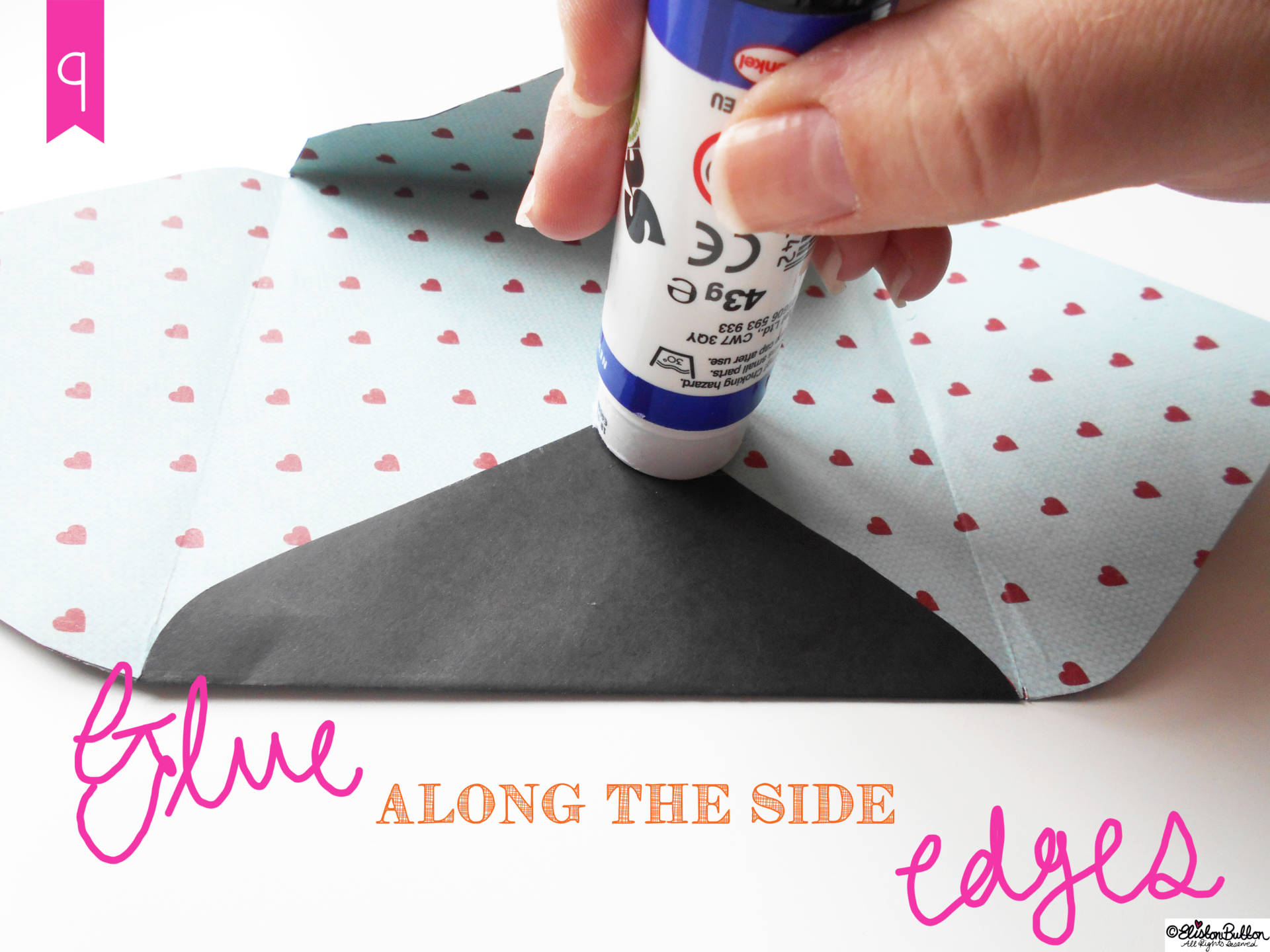 14. Glue Along the Side Edges. - Tutorial Tuesday - Handmade Fancy Envelopes at www.elistonbutton.com - Eliston Button - That Crafty Kid – Art, Design, Craft & Adventure.