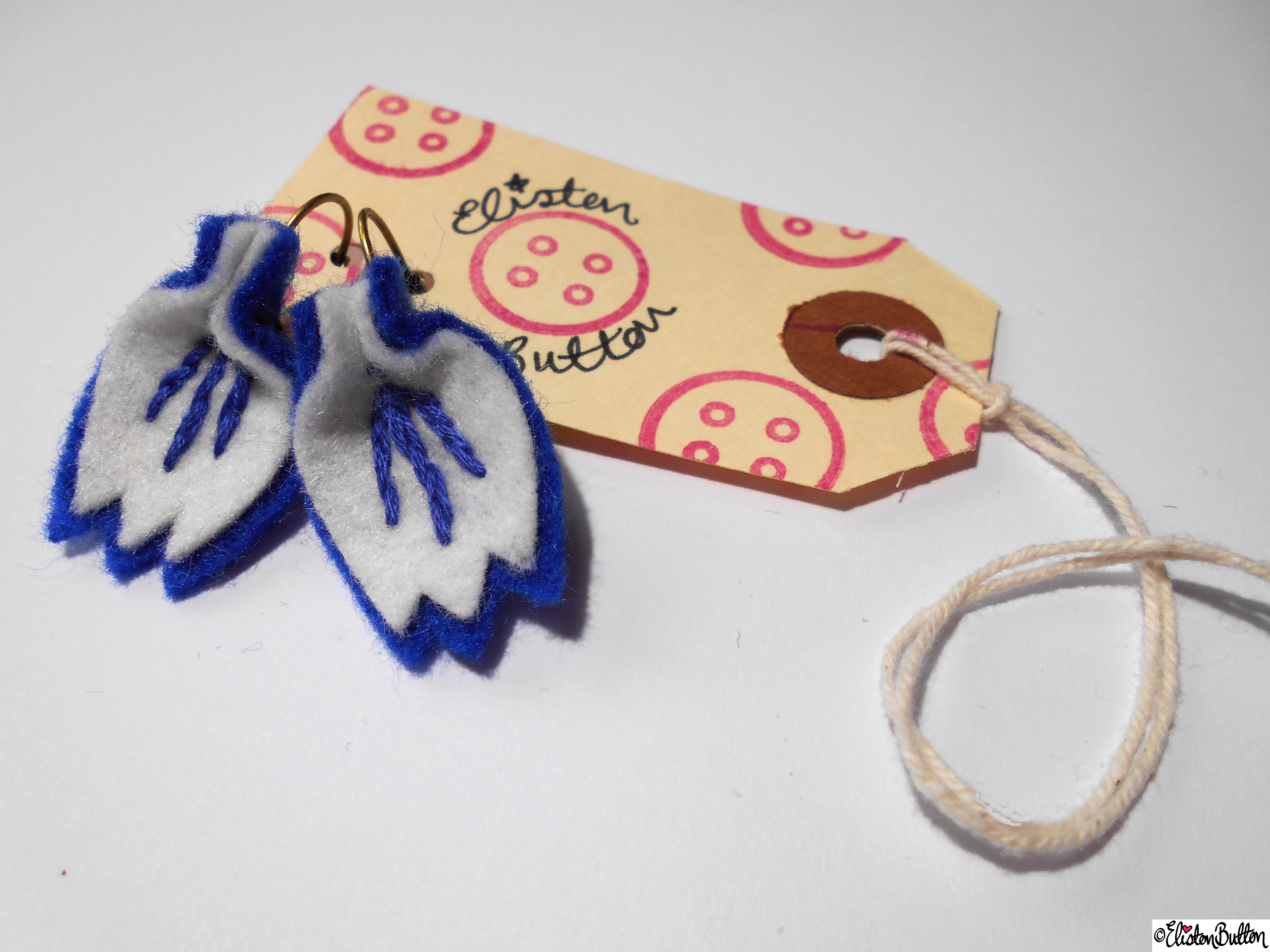 Blue and White Embroidered Felt Petal Earrings and Eliston Button Tag - Create 28 - No.2 - Embroidered Felt Petal Earrings at www.elistonbutton.com - Eliston Button - That Crafty Kid – Art, Design, Craft & Adventure.