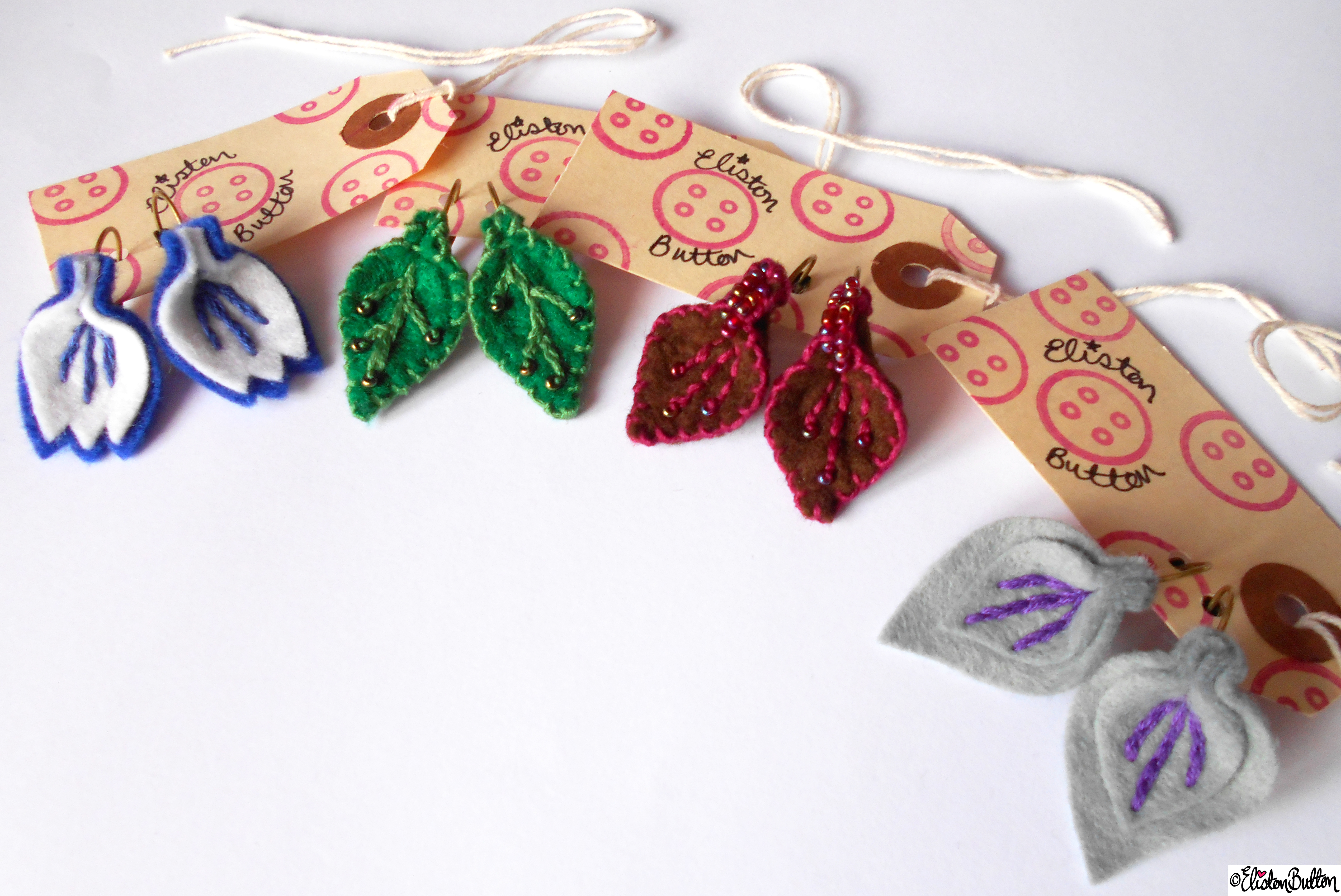 Handmade Embroidered and Beaded Felt Petal and Leaf Drop Earrings by Eliston Button - Create 28 - No.2 - Embroidered Felt Petal Earrings at www.elistonbutton.com - Eliston Button - That Crafty Kid – Art, Design, Craft & Adventure.