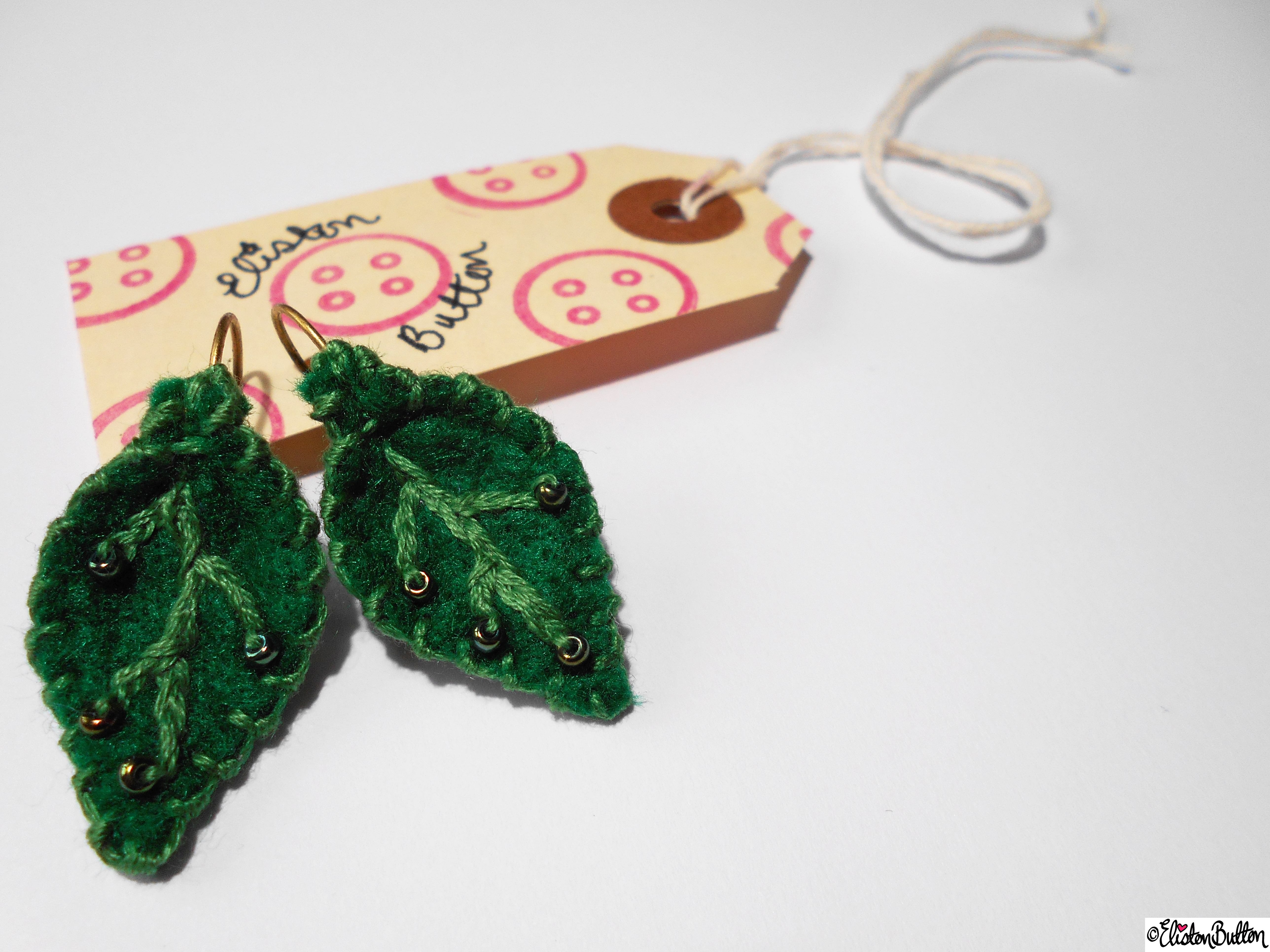 Leafy Green Emroidered and Hand Beaded Felt Leaf Earrings on Packaging - Create 28 - No.2 - Embroidered Felt Petal Earrings at www.elistonbutton.com - Eliston Button - That Crafty Kid – Art, Design, Craft & Adventure.